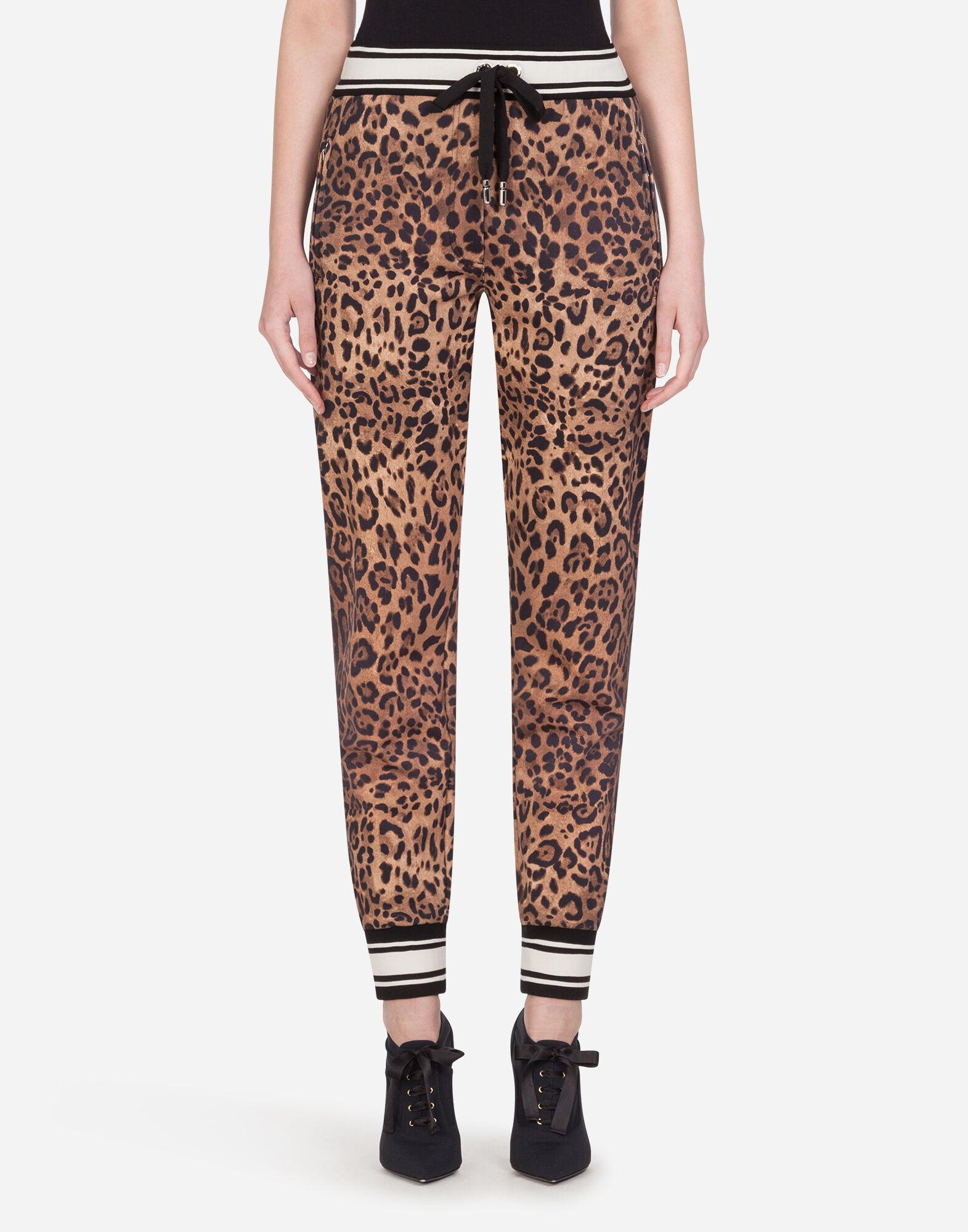 Jersey jogging pants with leopard print