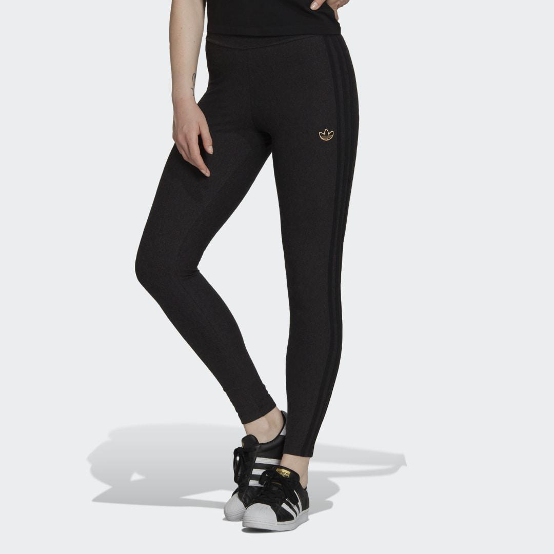 Comfy Tights in Single Jersey with Metallic Trefoil Badge Black