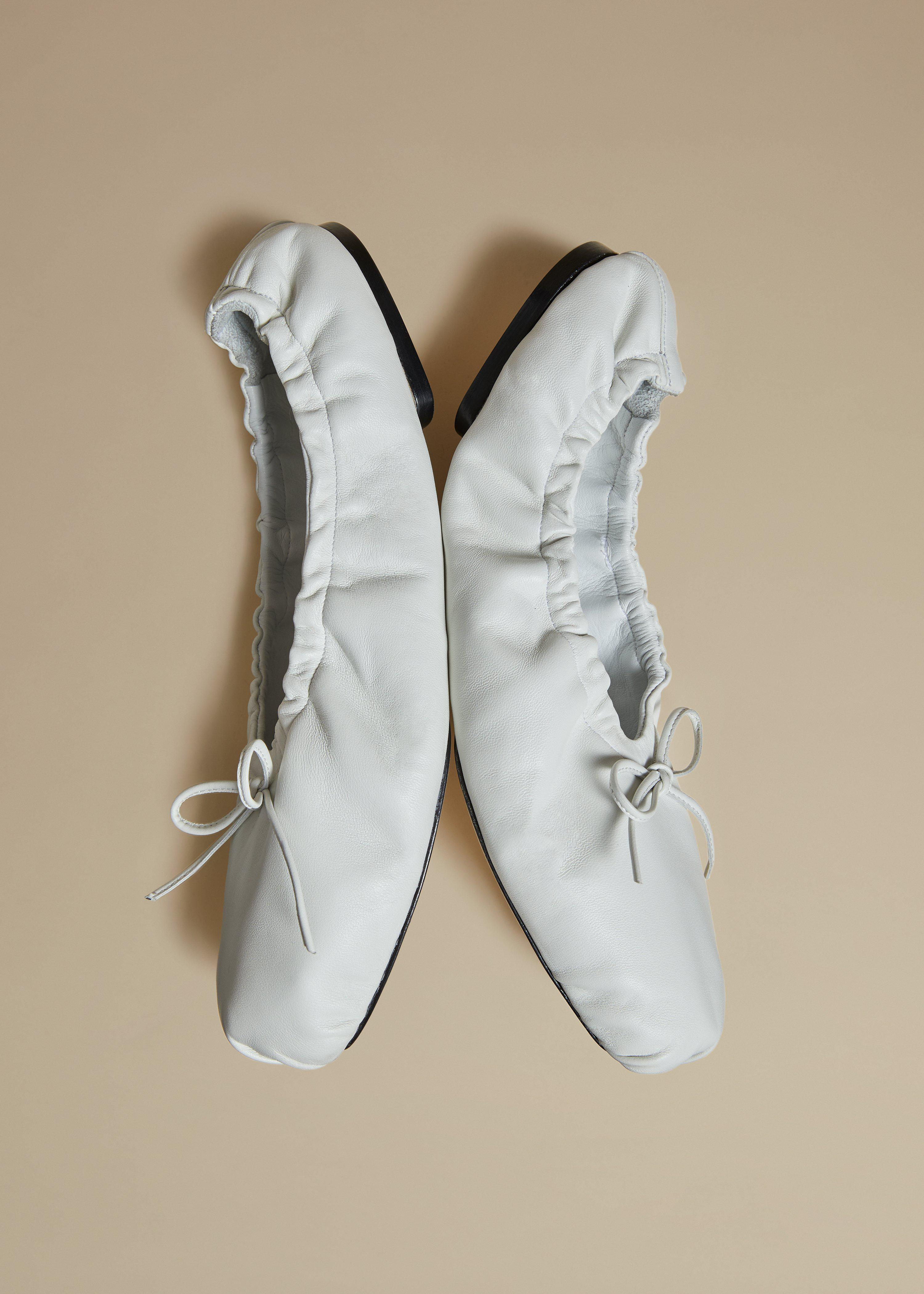 The Ashland Ballet Flat in White Leather 3