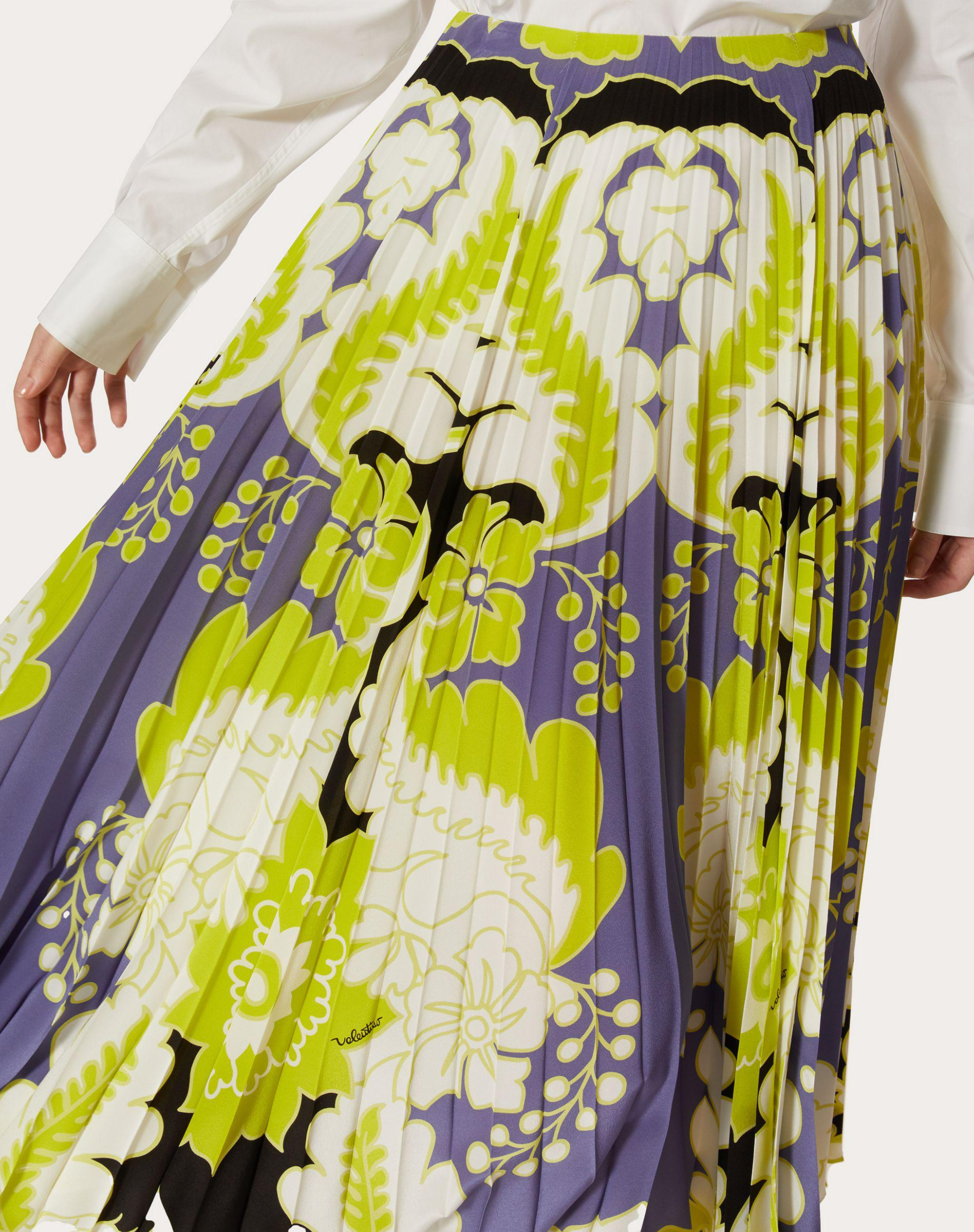 CREPE DE CHINE PLEATED SKIRT WITH PRINT 4