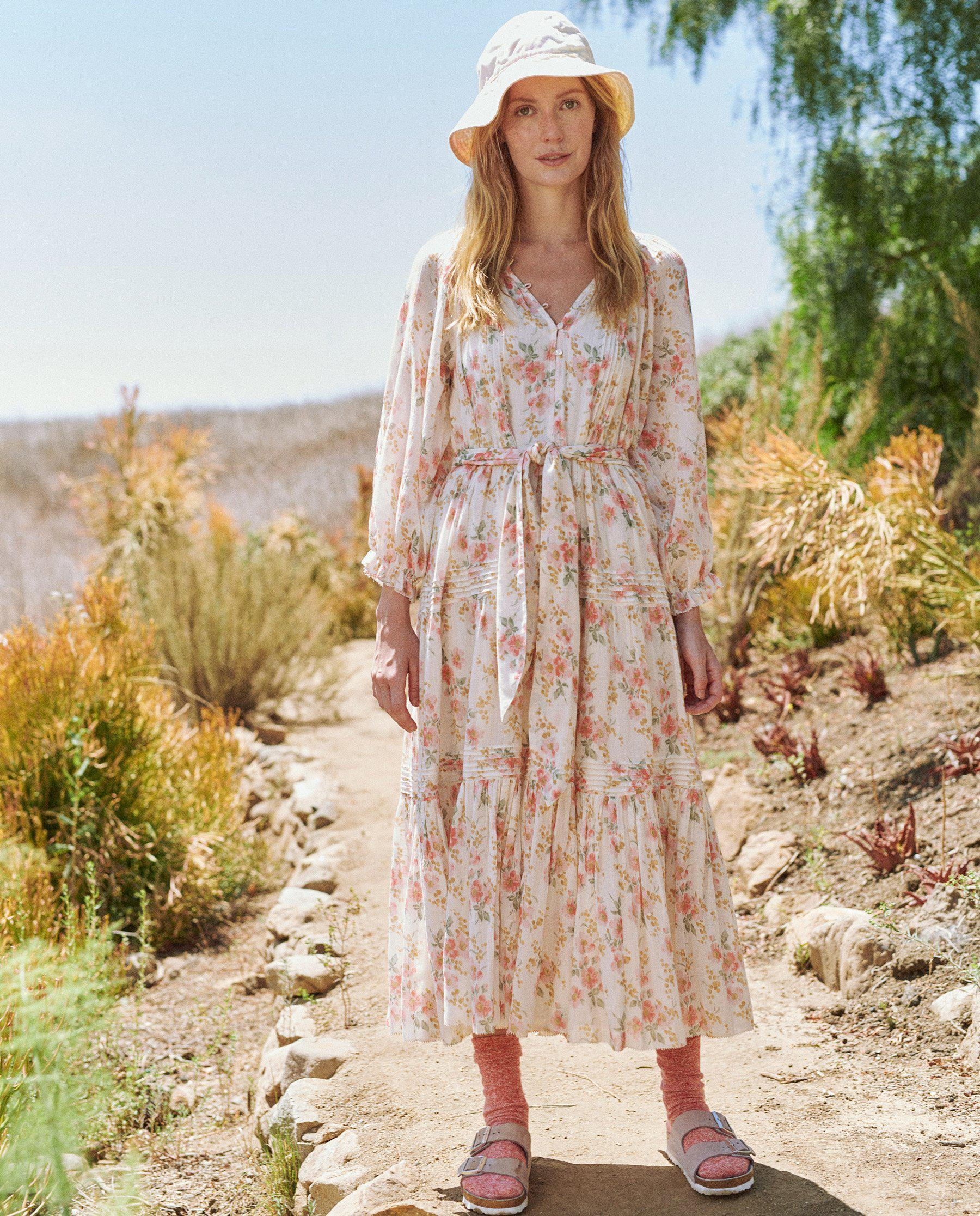 The Valley Dress. -- Pink Sweet Pea Floral