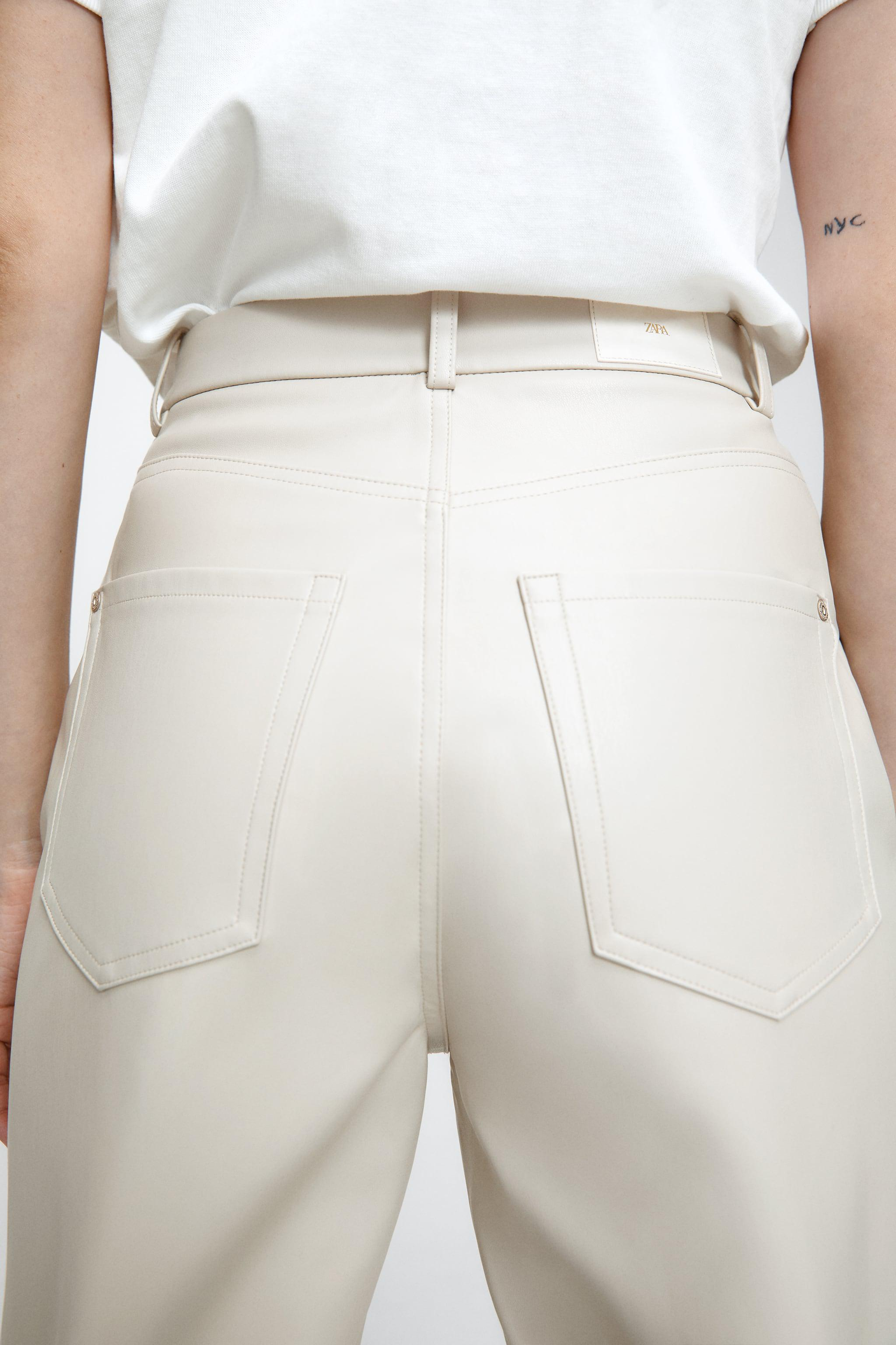 FAUX LEATHER MOM FIT PANTS 3