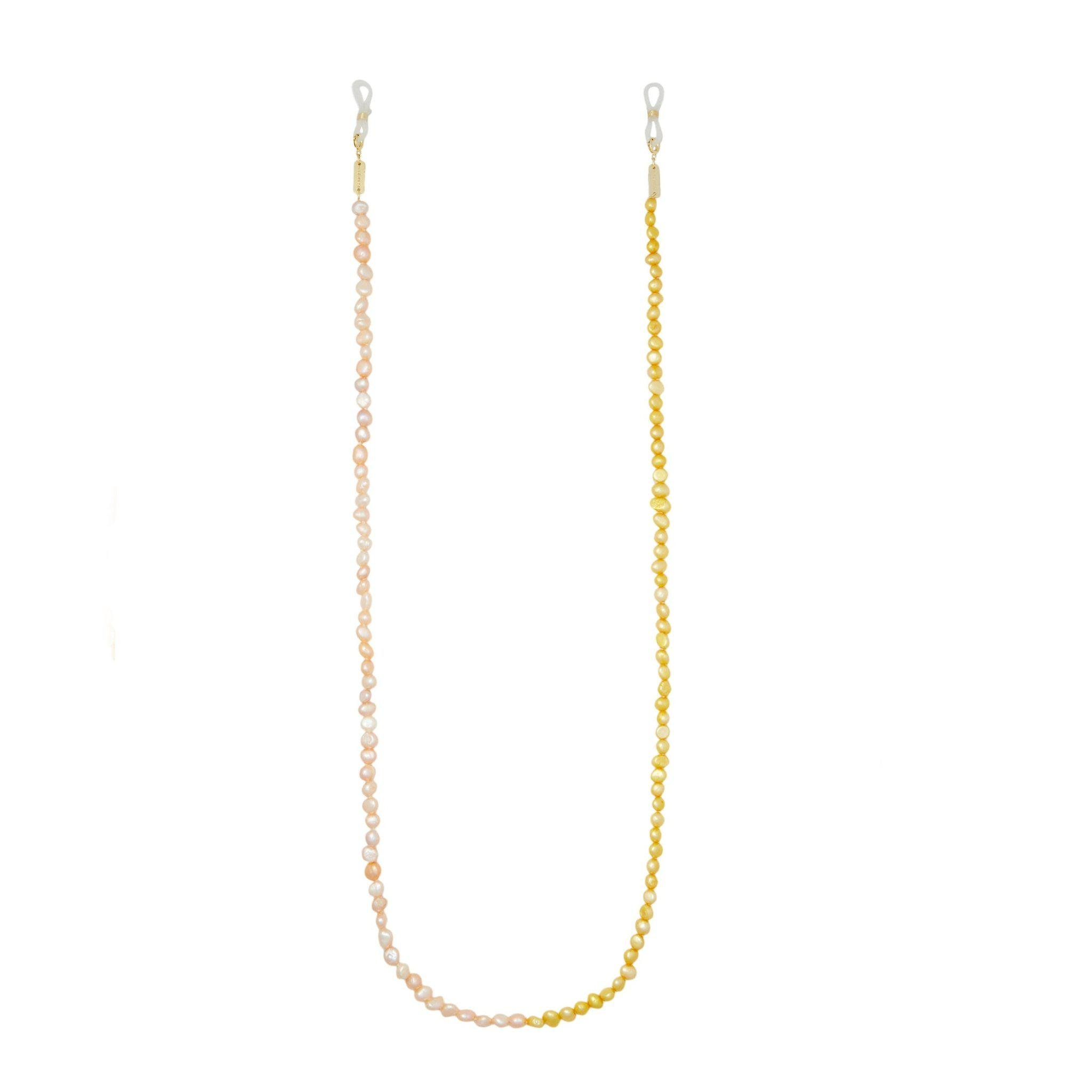 Mixed Freshwater Pearl Sunglas/Mask Chain in Yellow + Pink 0