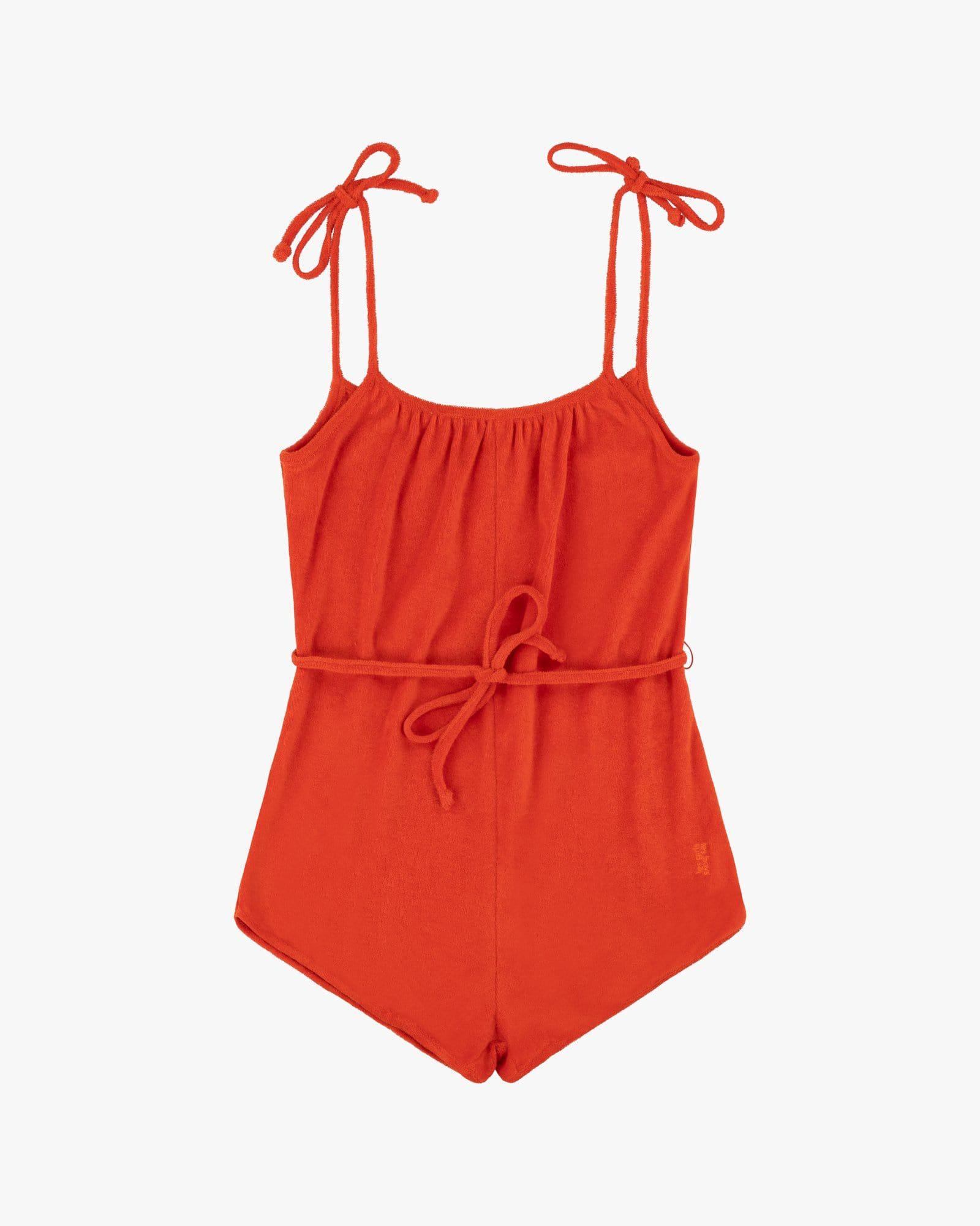 Towelling playsuit Red 2