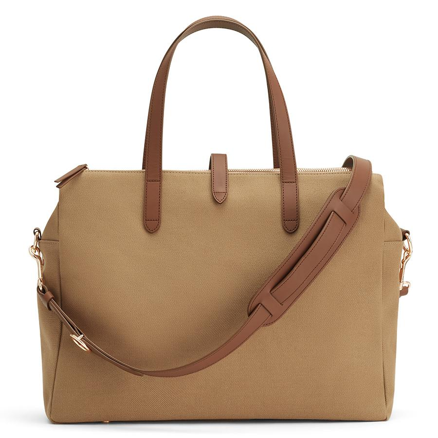 Women's Triple Zipper Overnight Bag in Sand/Chestnut | Organic Canvas/Smooth Leather by Cuyana