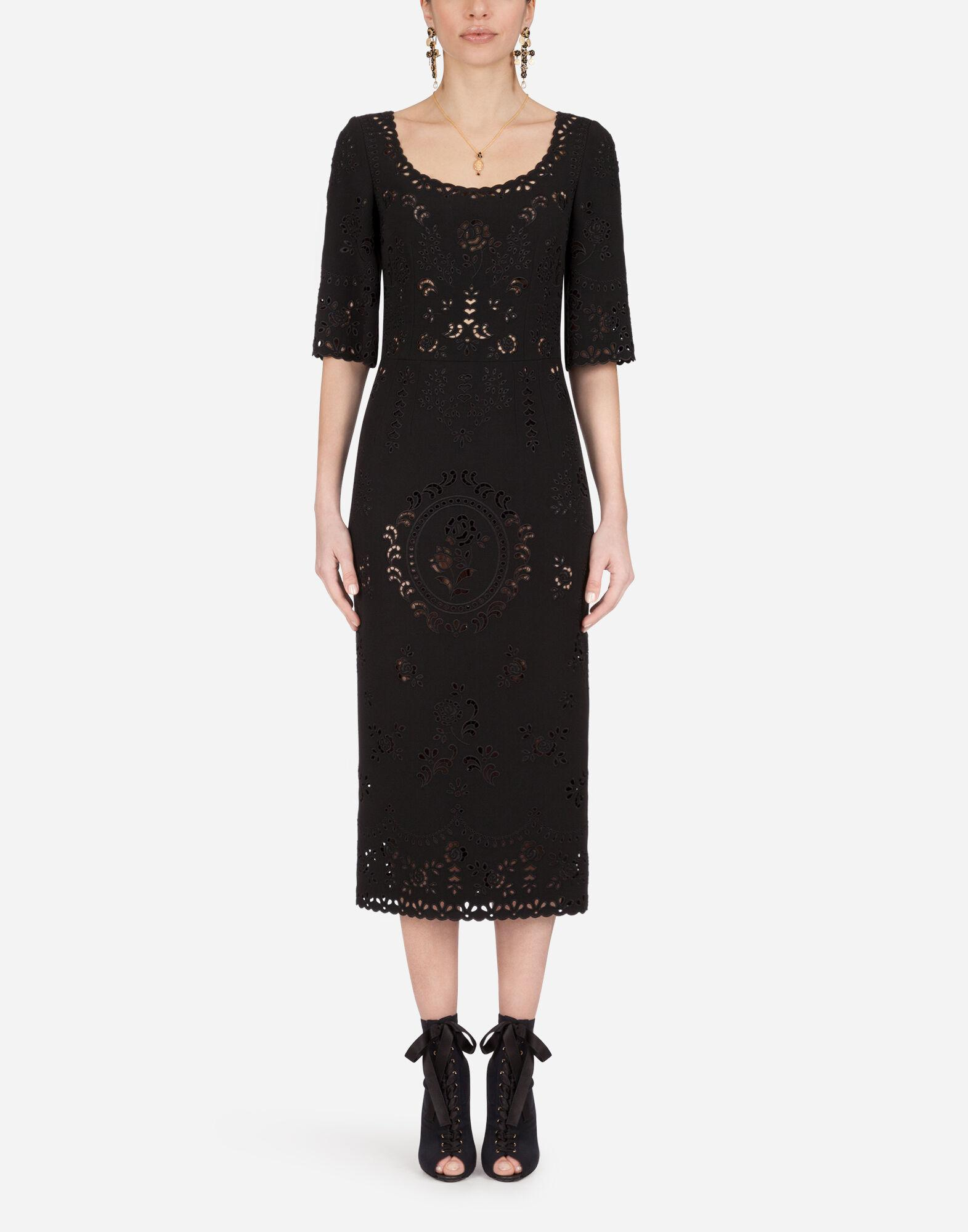 Short-sleeved cady midi dress with intaglio detailing