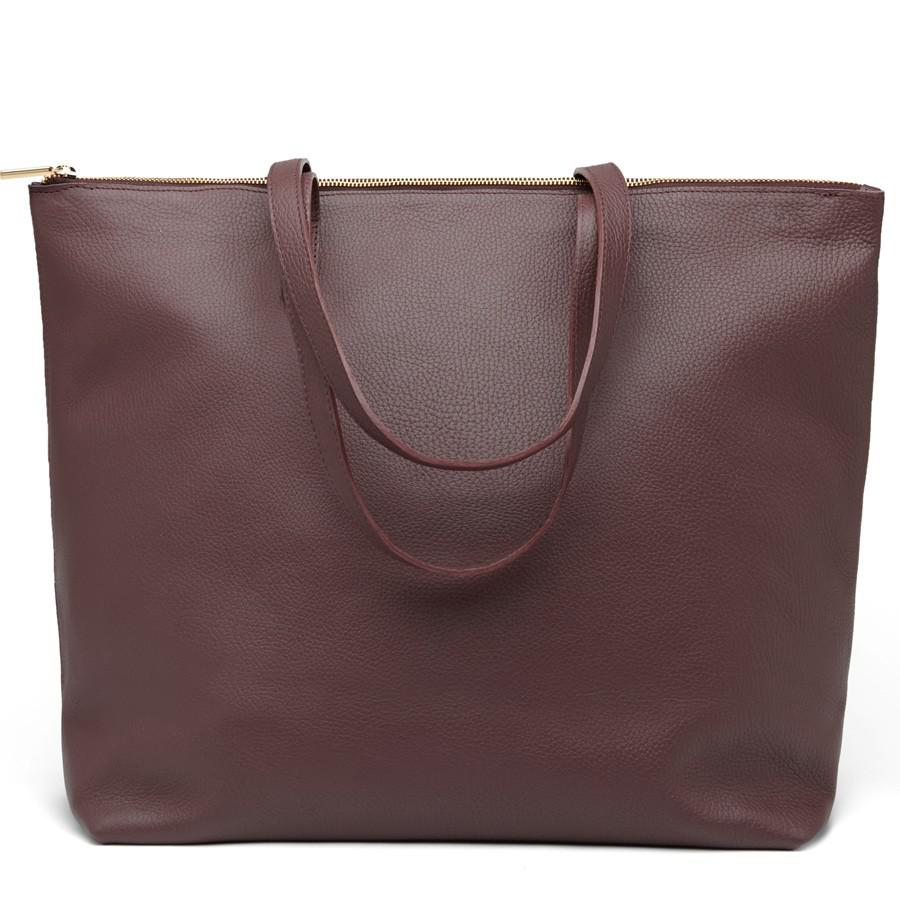 Women's Classic Leather Zipper Tote Bag in Burgundy | Pebbled Leather by Cuyana