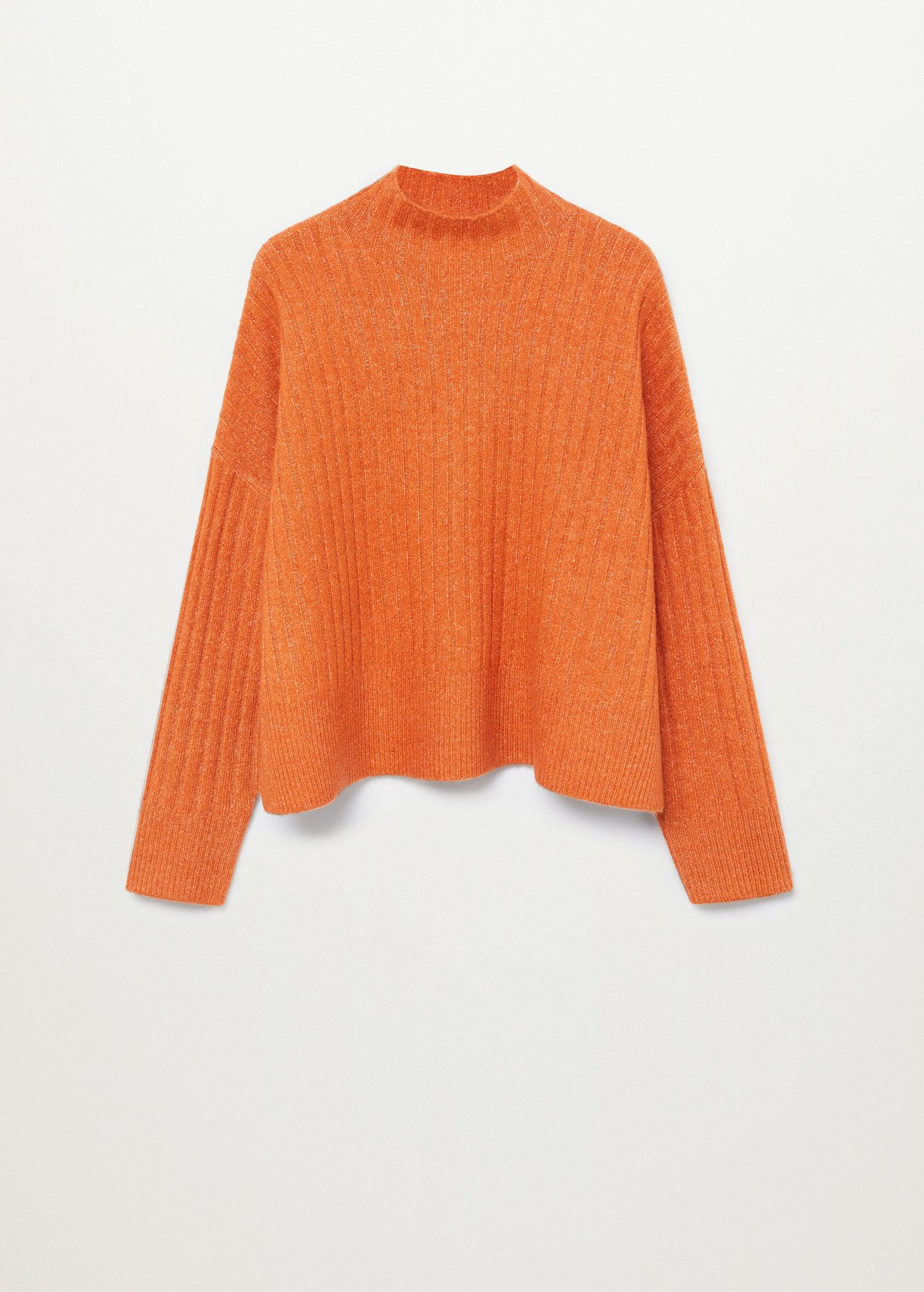High collar ribbed knit sweater 9