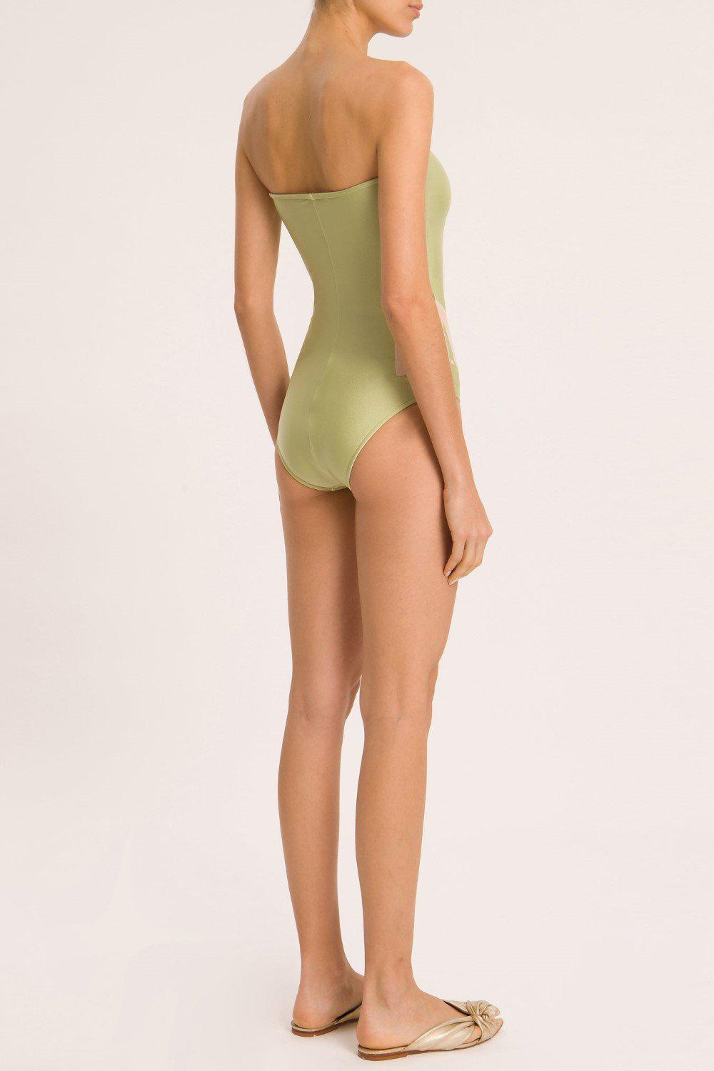 Solid Strapless Swimsuit With Muguet Applications 2