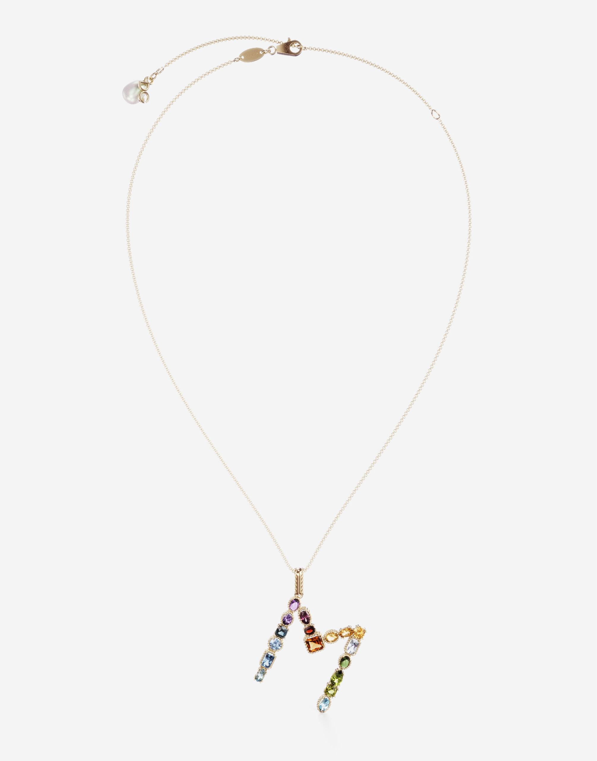 Rainbow alphabet M pendant in yellow gold with multicolor fine gems