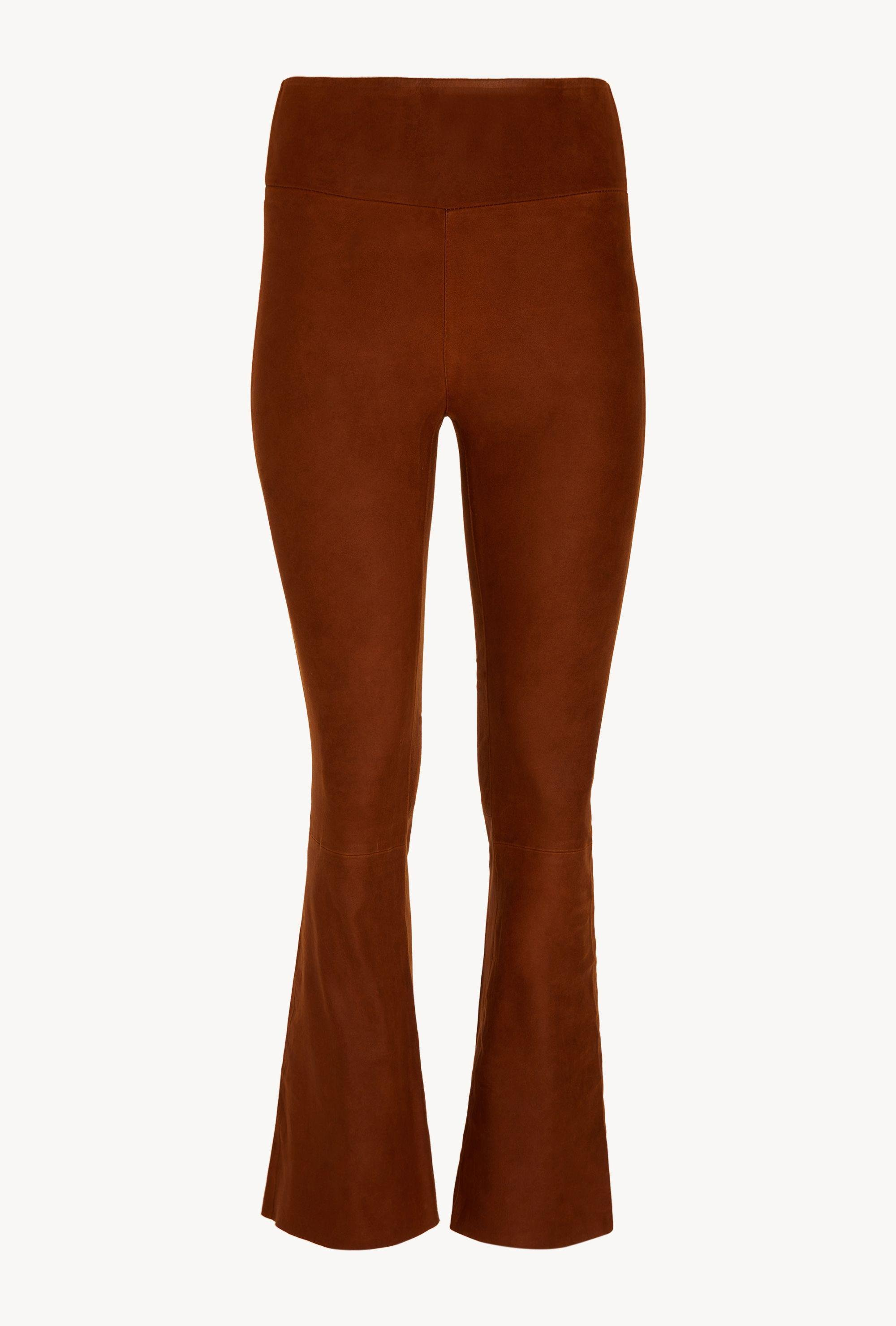 Cognac Coated Ankle Flare Leather Legging