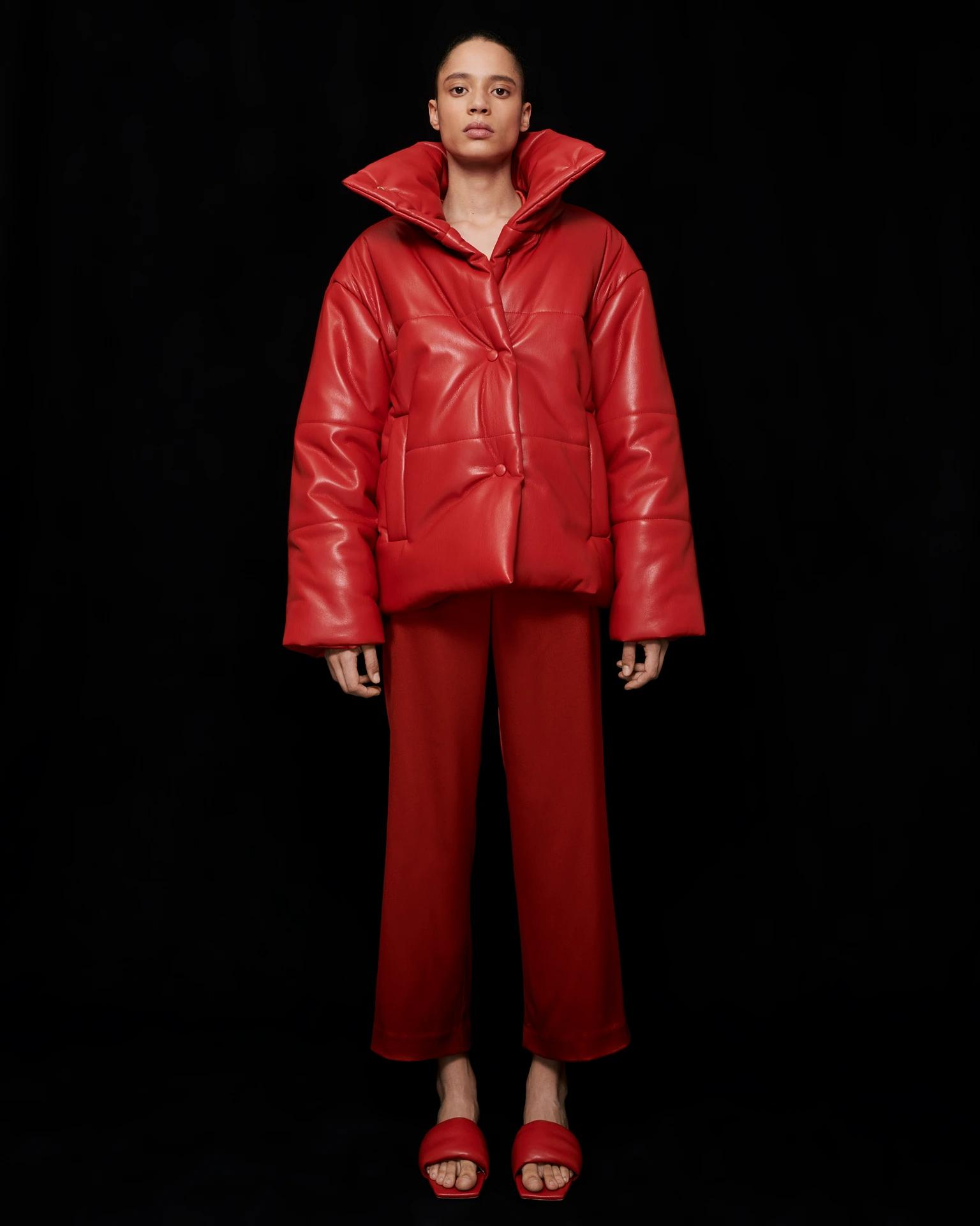 HIDE - Vegan leather puffer jacket - Red