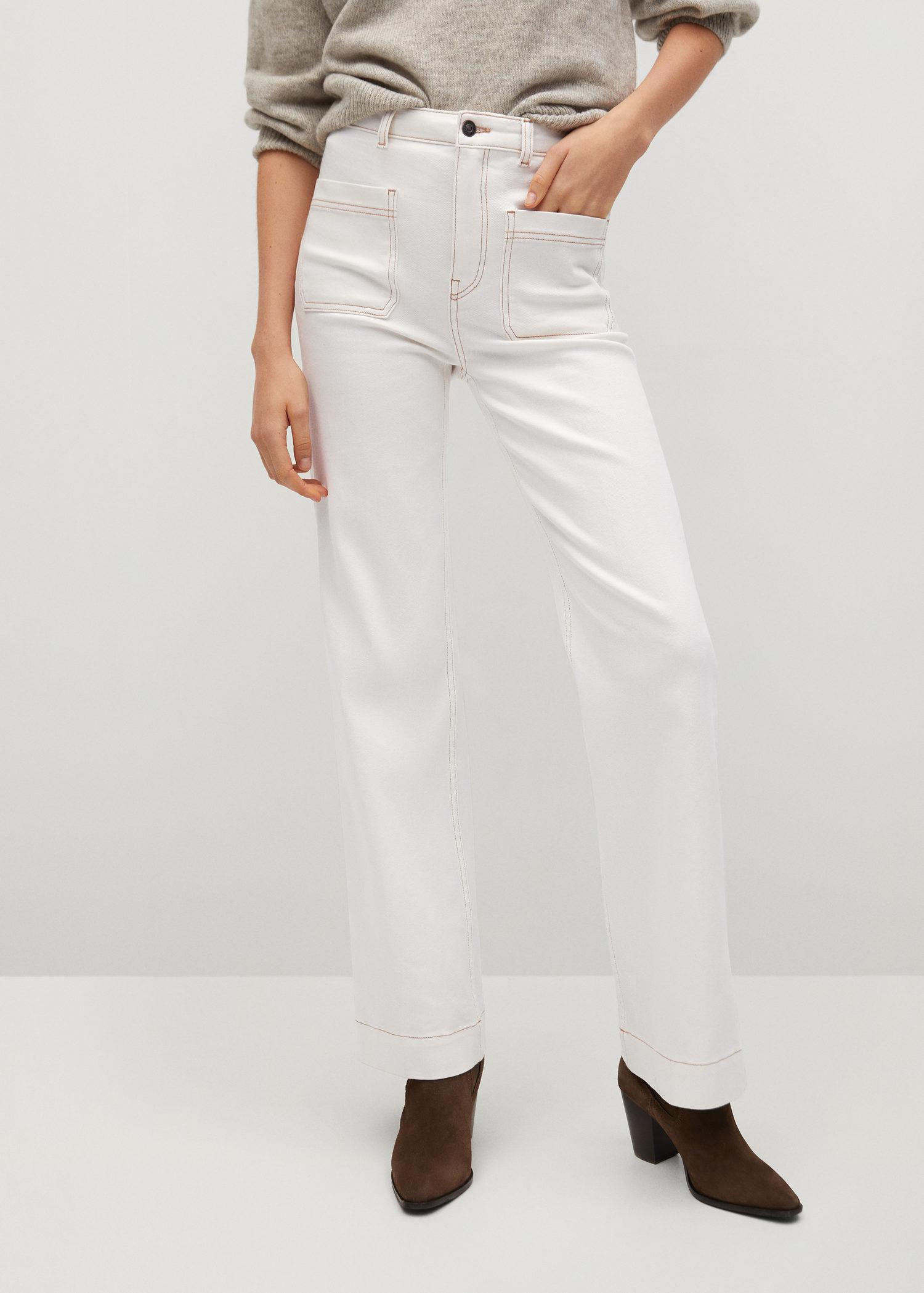 Wide-leg jeans with decorative seams