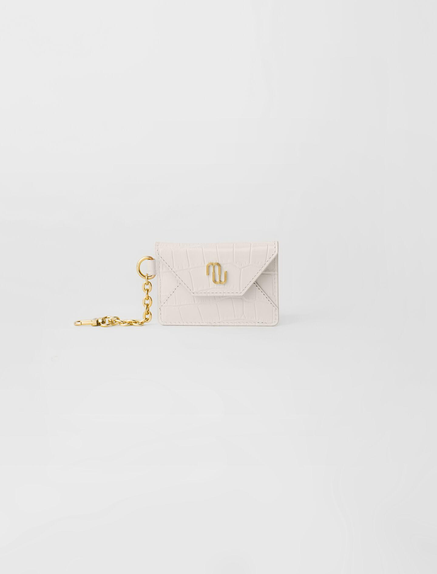 CROC-EFFECT EMBOSSED LEATHER CARD HOLDER