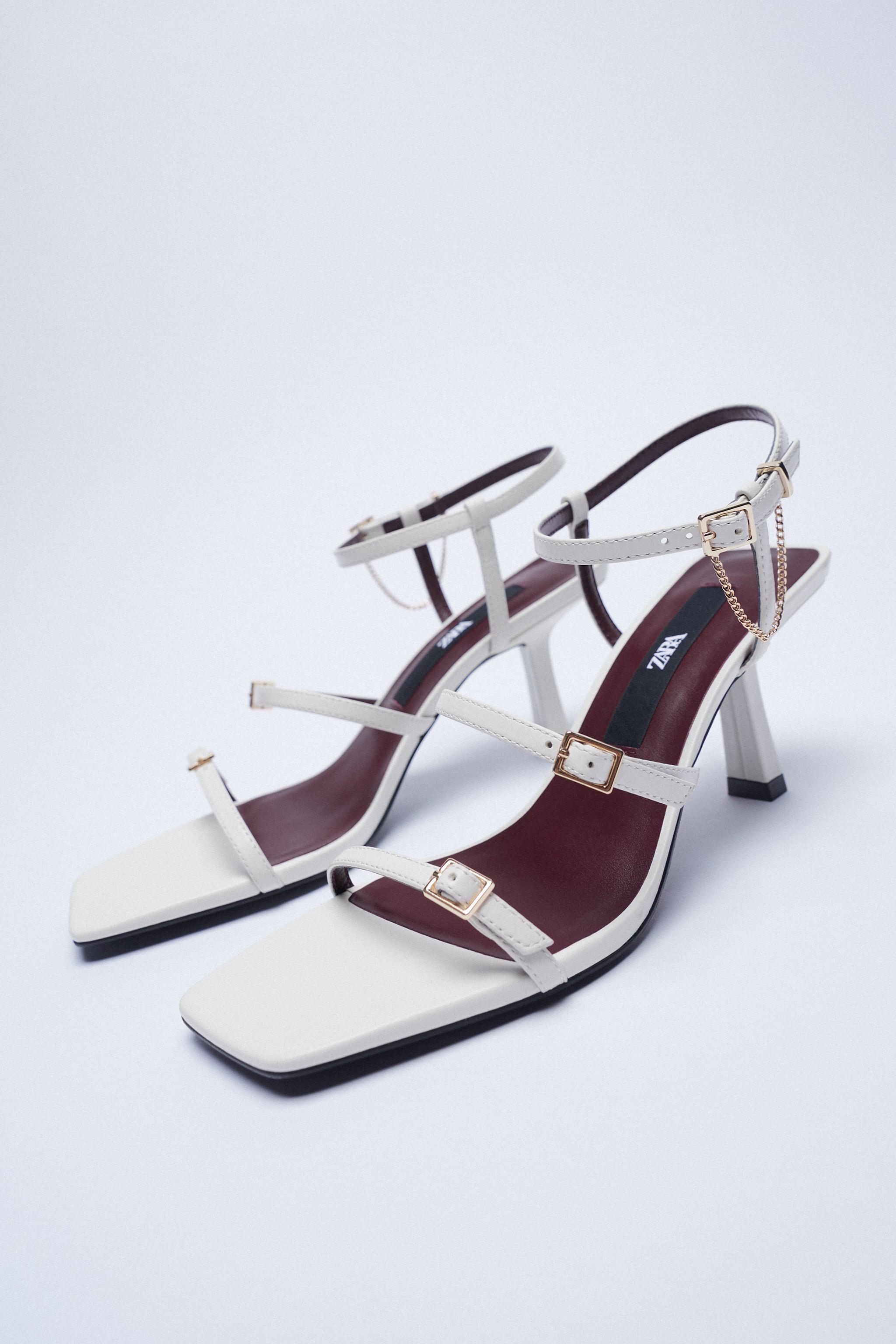 LEATHER HIGH HEEL STRAPPY SANDALS WITH BUCKLES 6