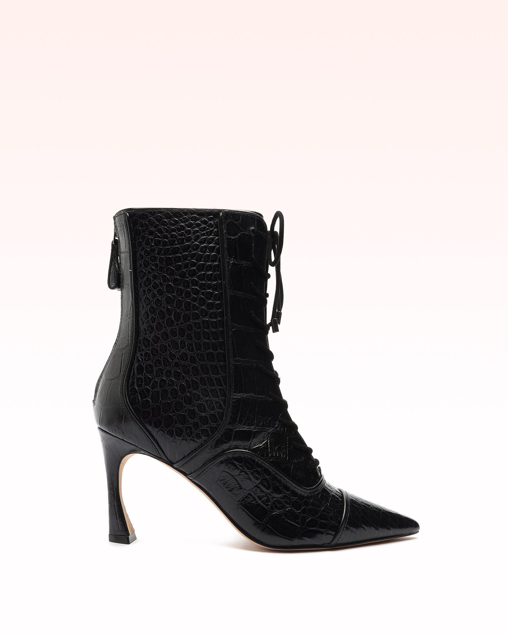 Ginny Crocodile-Embossed Leather Boot