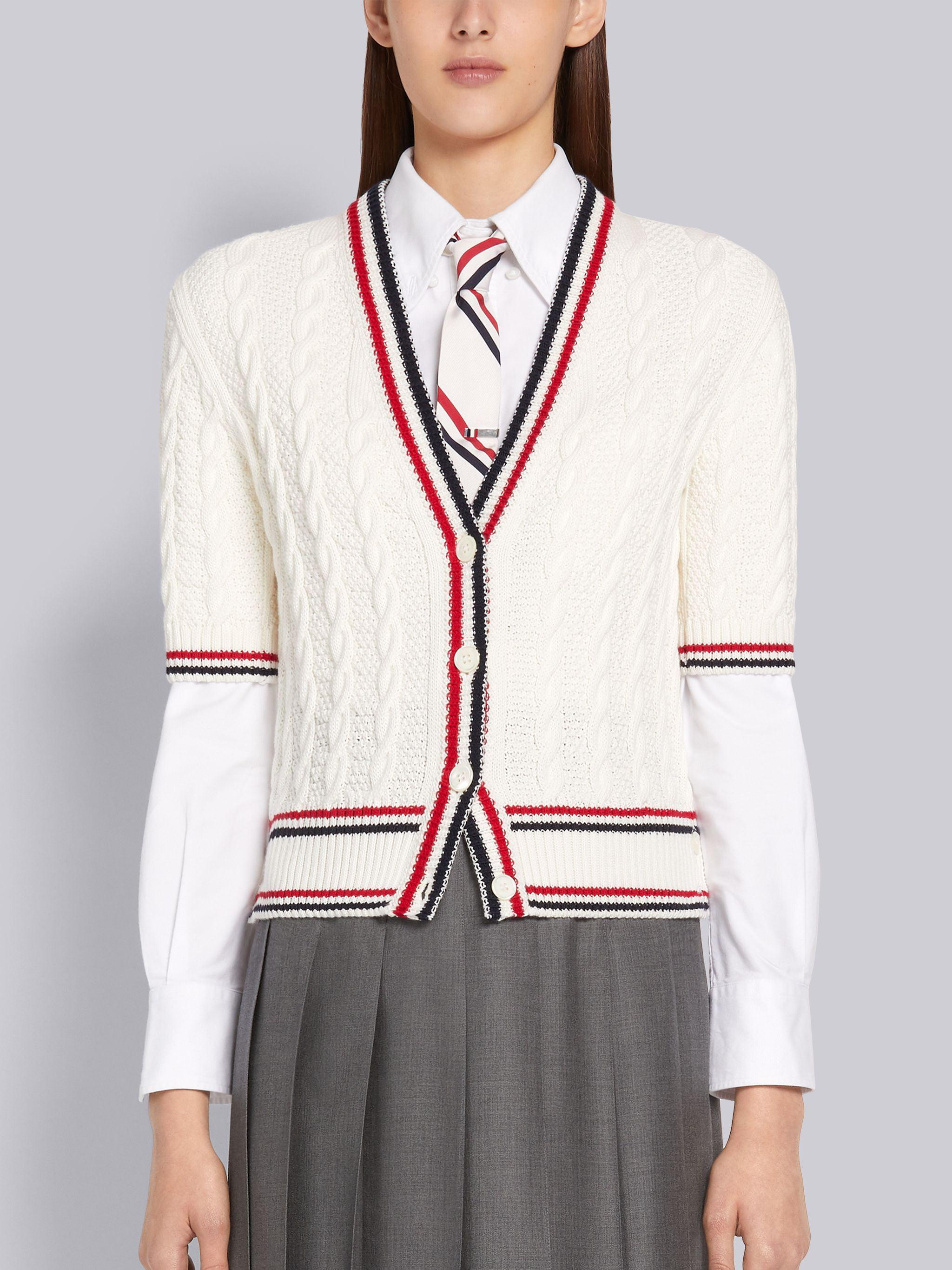 White Cotton Heritage Cable Striped Short Sleeve V-Neck Cardigan