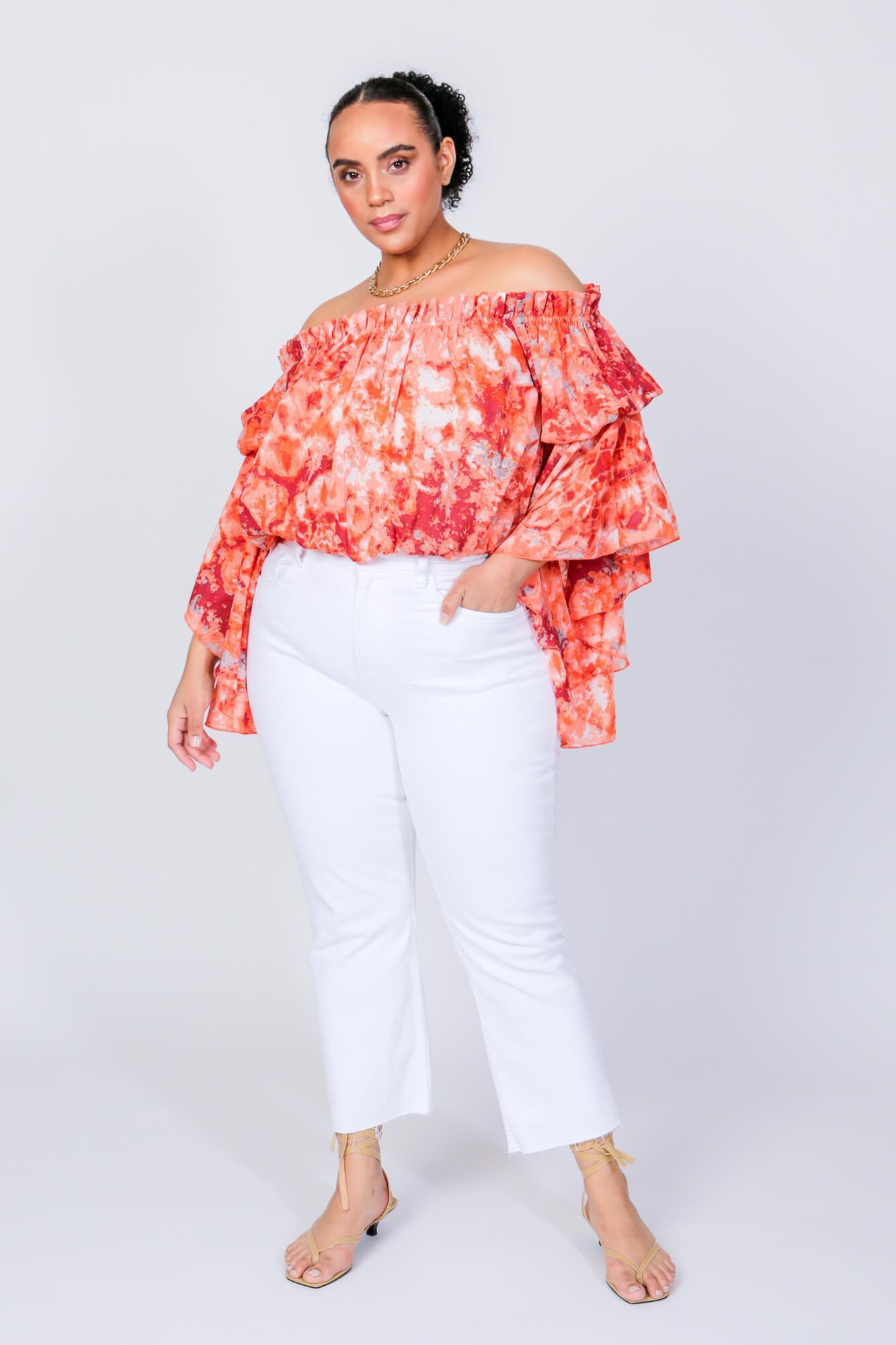 Red Swirl Brittney Off The Shoulder Bell Sleeve Top 1