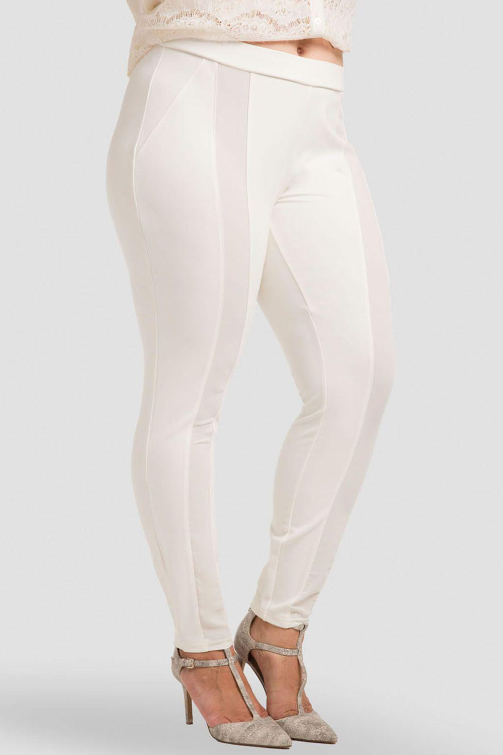 Plus Size Cindy Ivory Ponte Legging with Sheer Panel