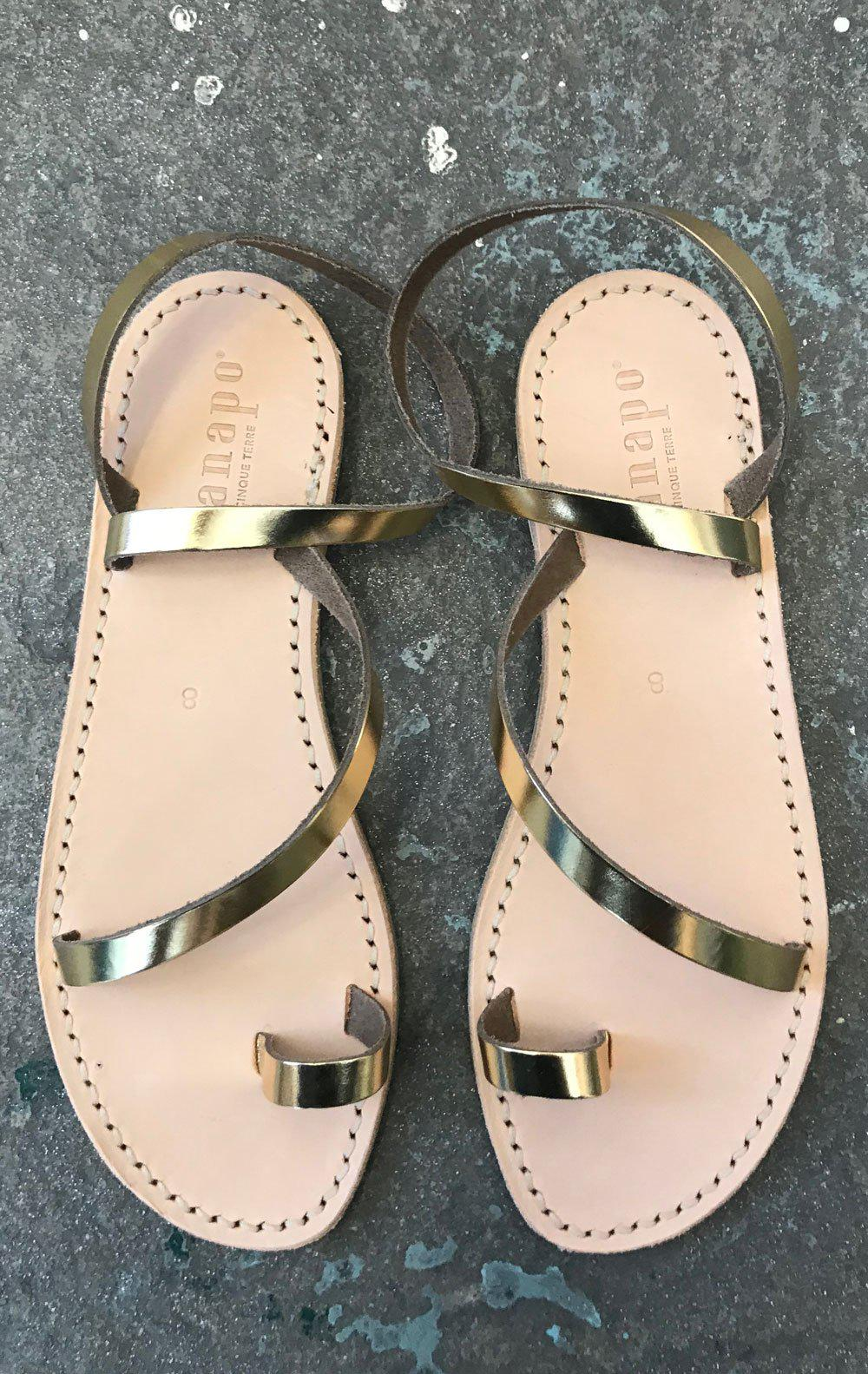 Italian made gold leather sandals-size 40