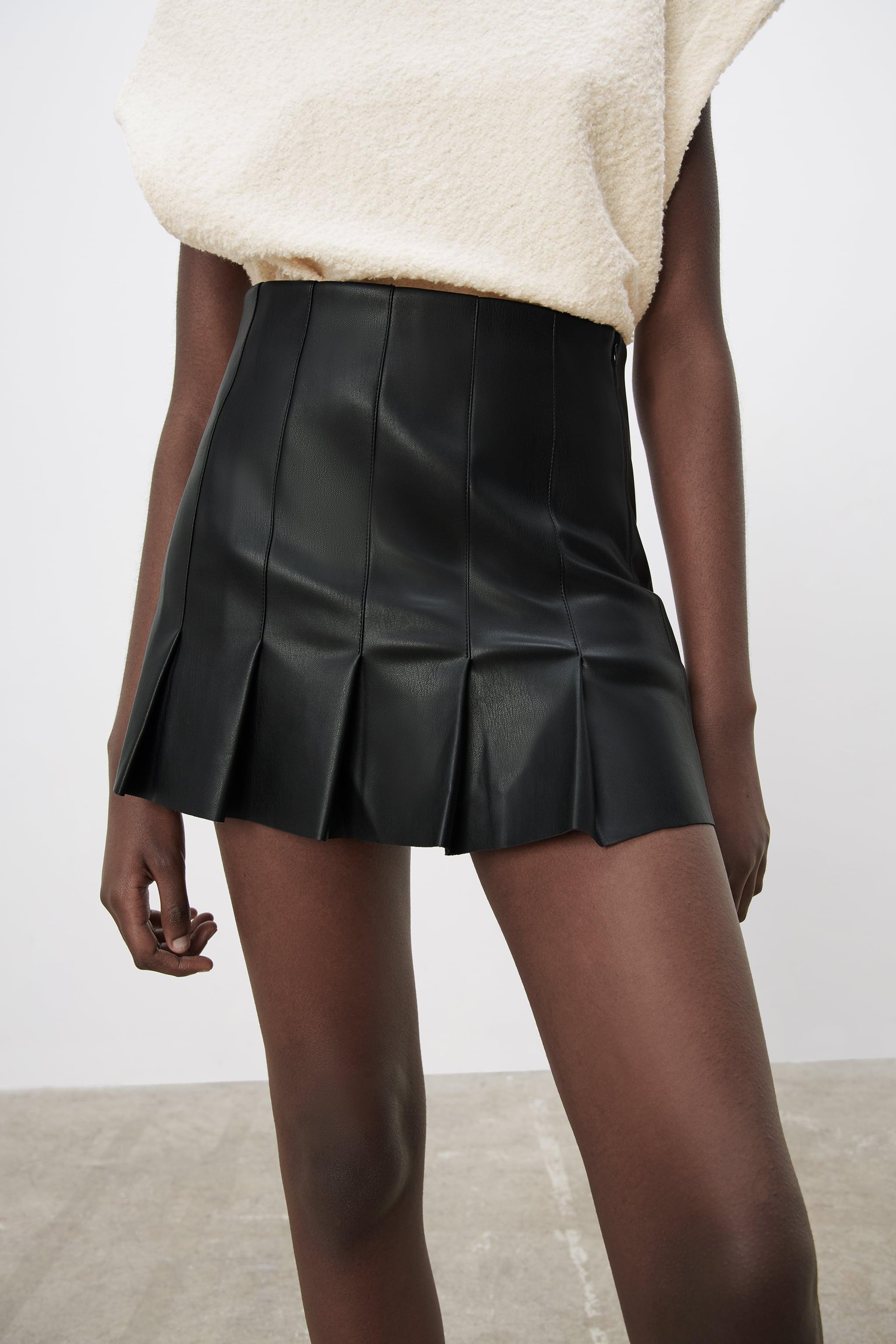 FAUX LEATHER BOX PLEAT SKIRT 1
