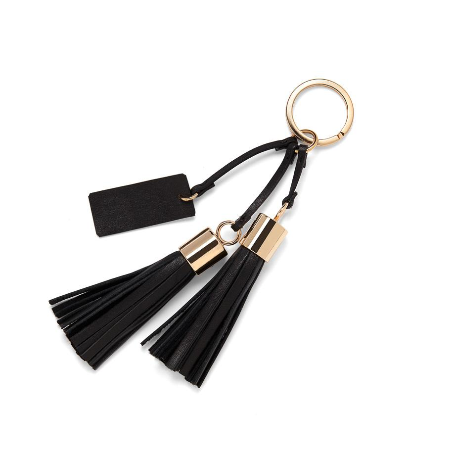 Women's Leather Tassel Keychain in Black   Smooth Leather by Cuyana