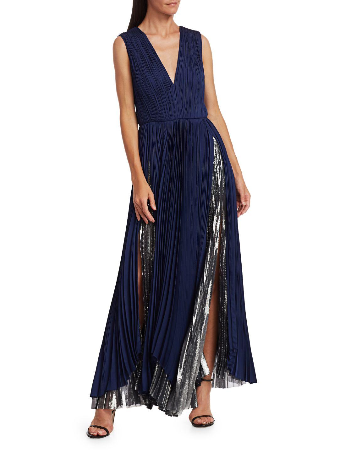 PLEATED METALLIC GOWN 1