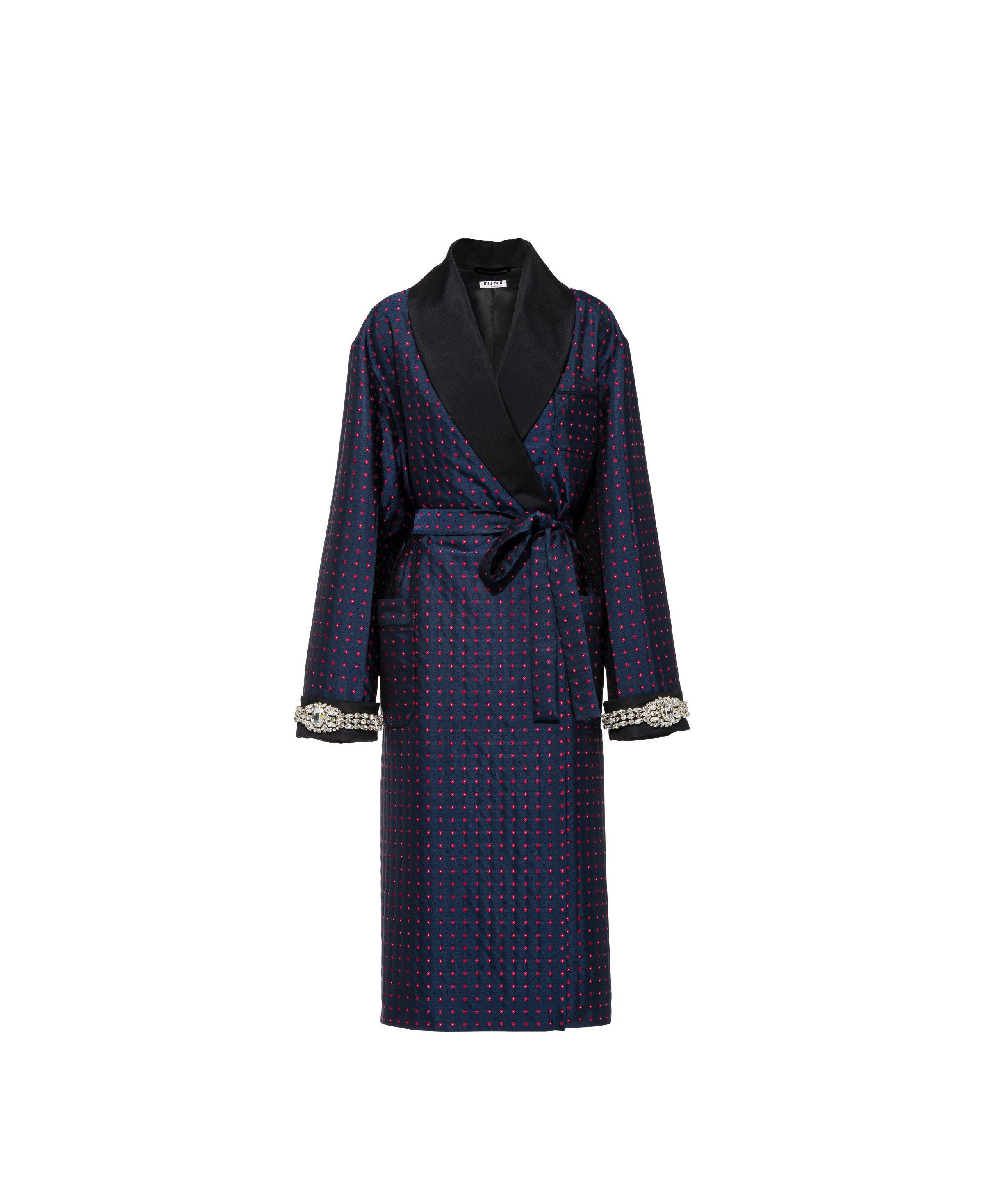 Embroidered Jacquard Coat Women Navy