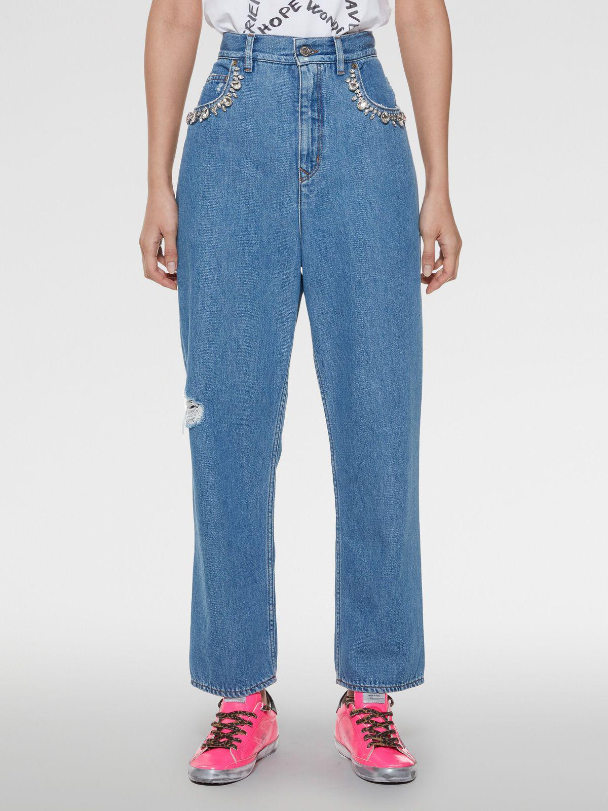 Kim denim jeans with crystals applications