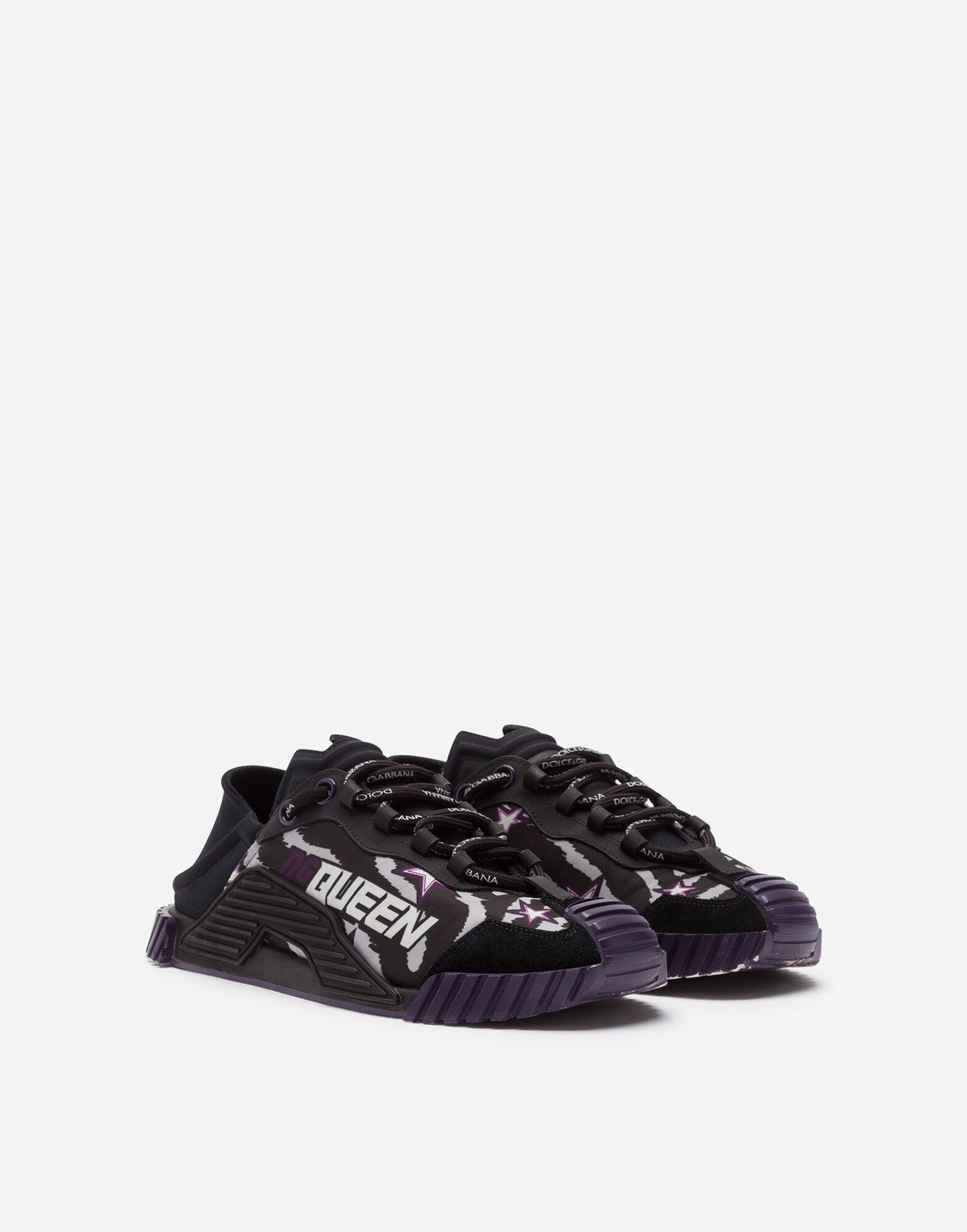 Slip-on NS1 sneakers in mixed materials with jungle print and purple bottom 1