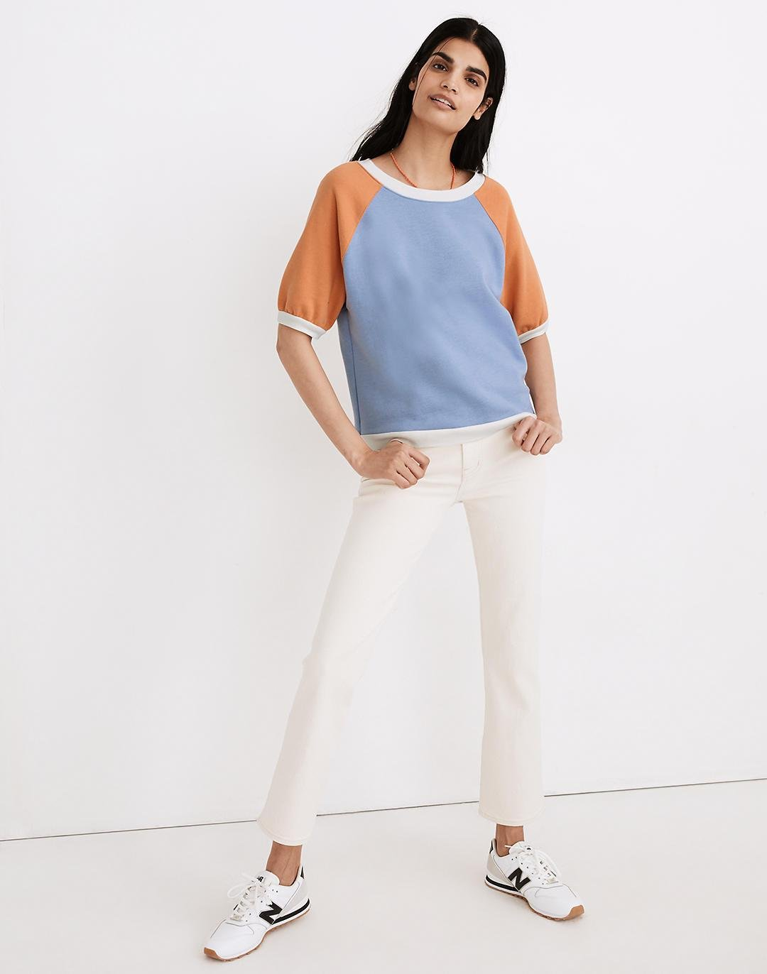 Short-Sleeve Sweatshirt in Colorblock