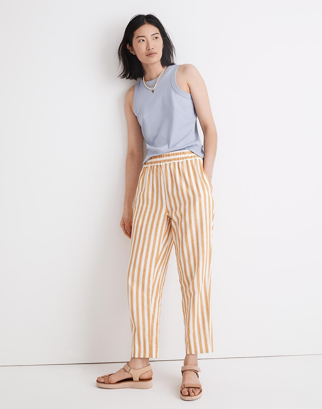 Tapered Huston Pull-On Crop Pants in Stripe