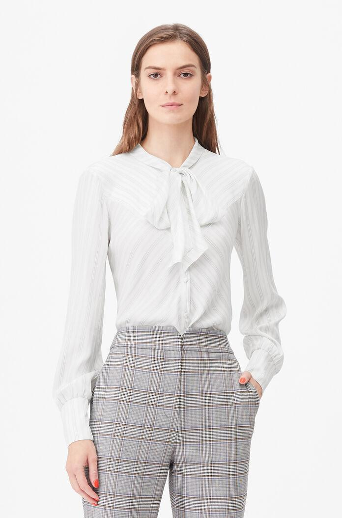 TAILORED DOTTED STRIPE TIE NECK TOP