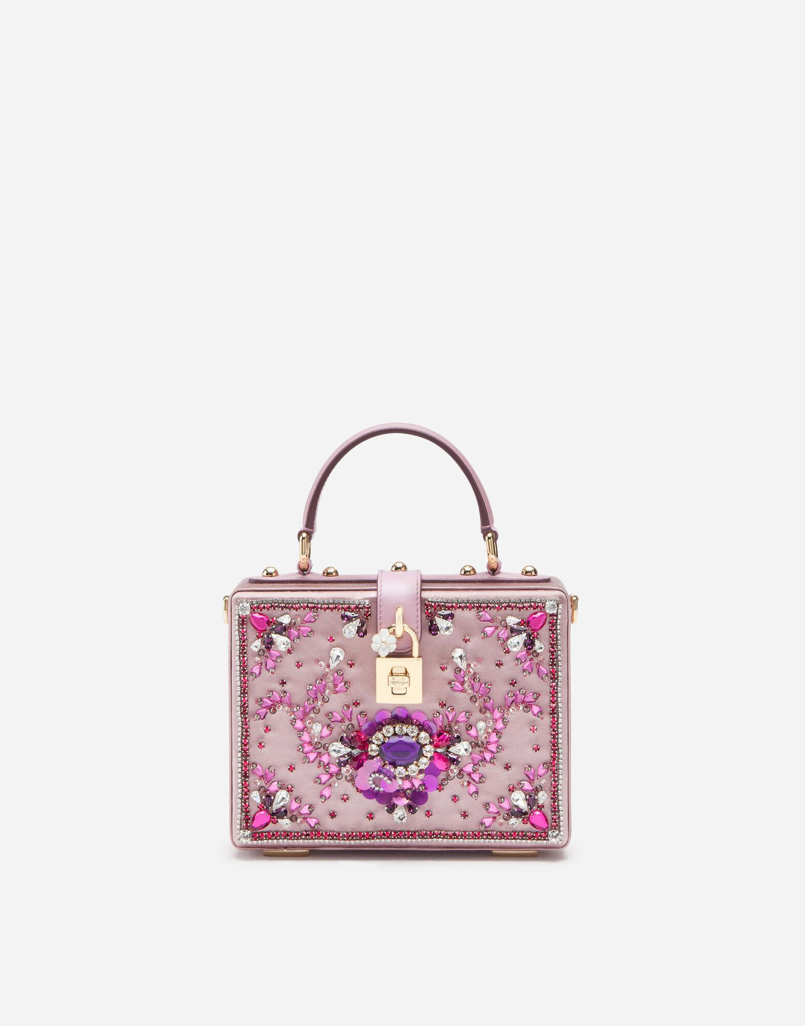 Satin Dolce Box bag with bejeweled embroidery