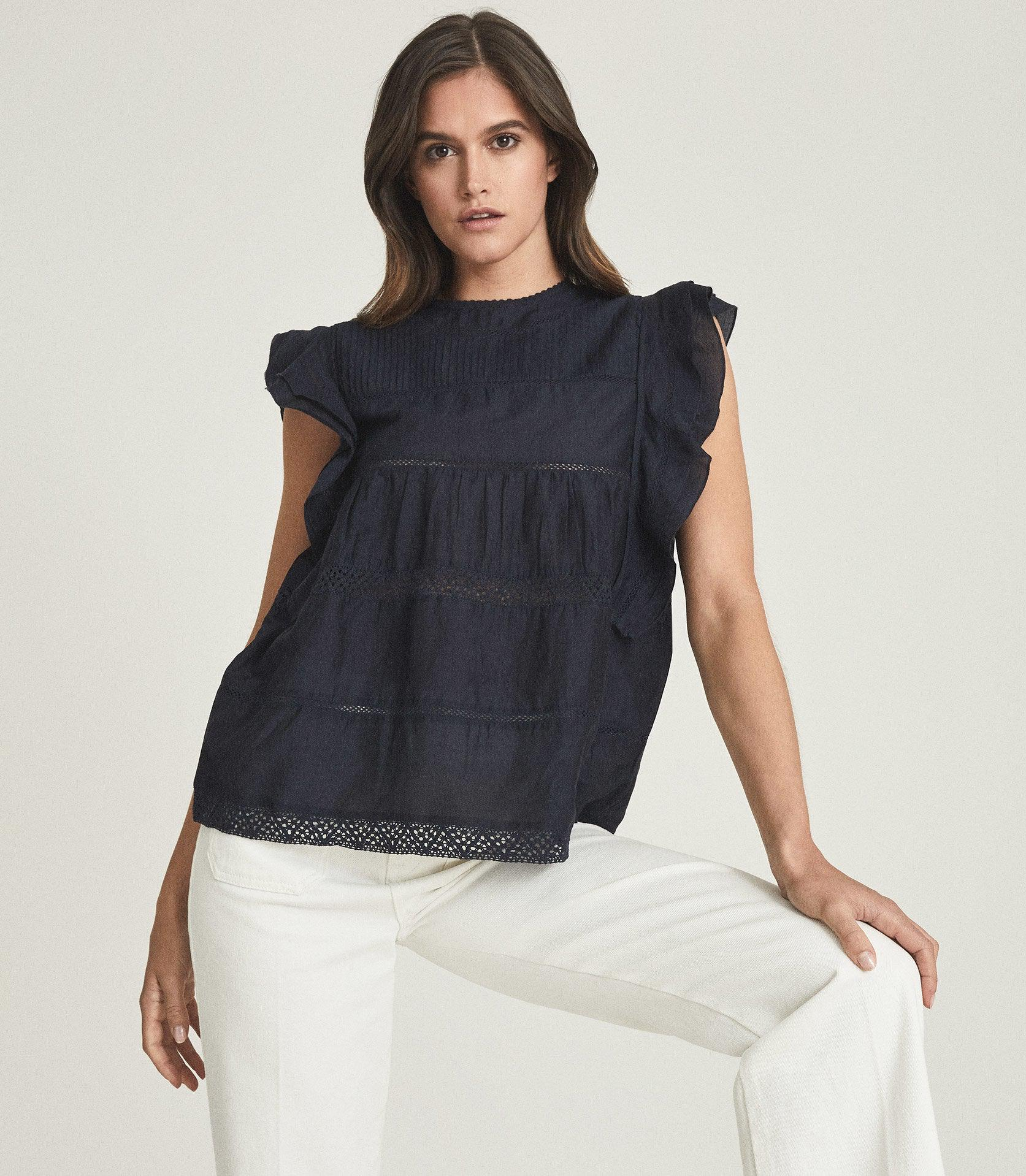 SIMONE - LACE DETAILED CAP SLEEVE TOP 4