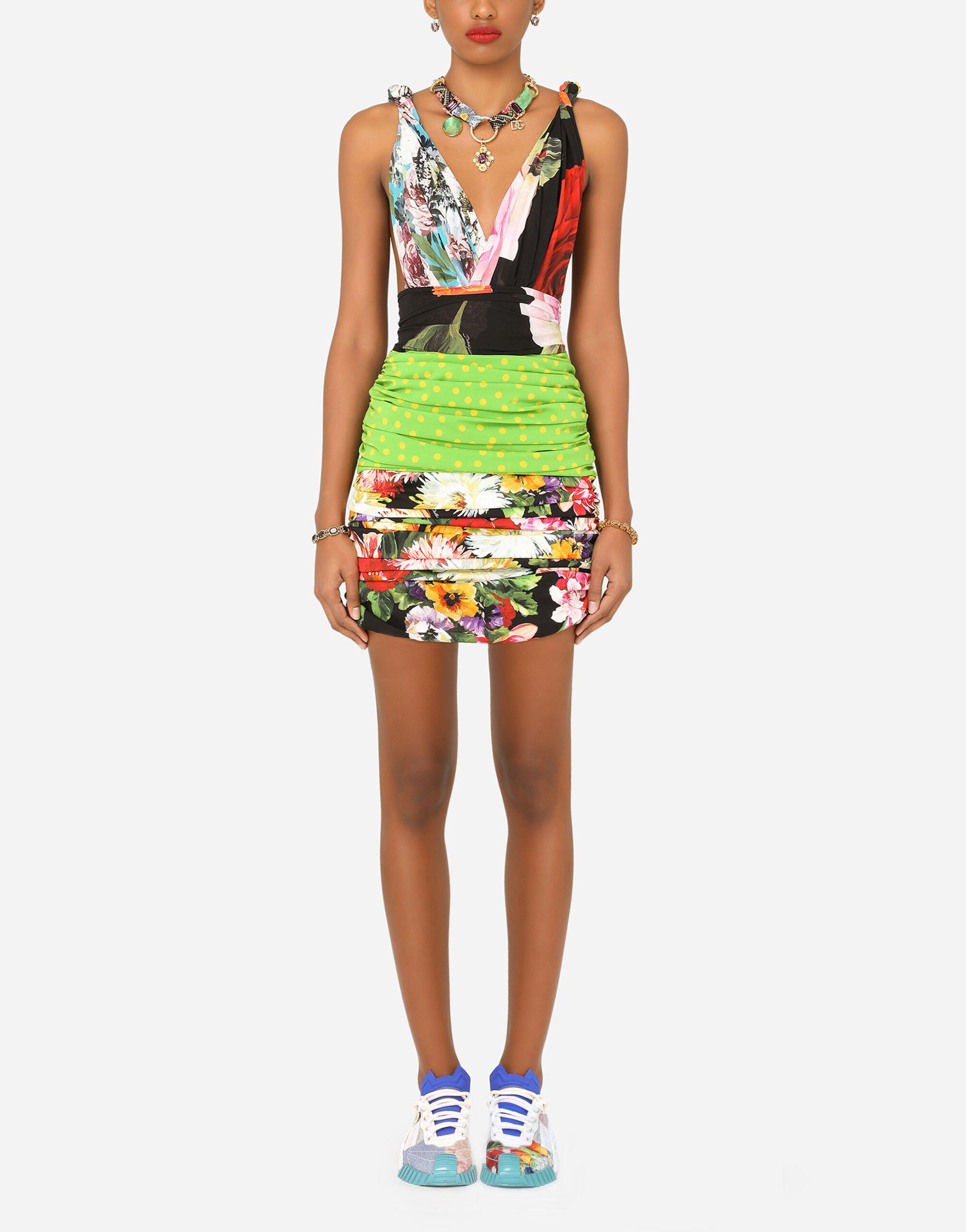 Short patchwork charmeuse and georgette dress 0