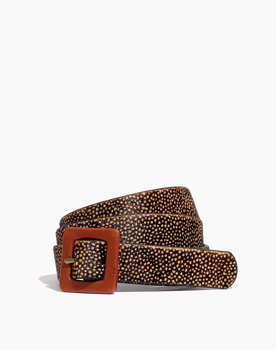 Square Buckle Belt in Spotted Calf Hair