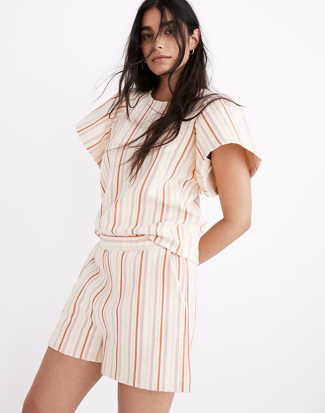Textural Knit High-Rise Pleated Shorts in Stripe 2