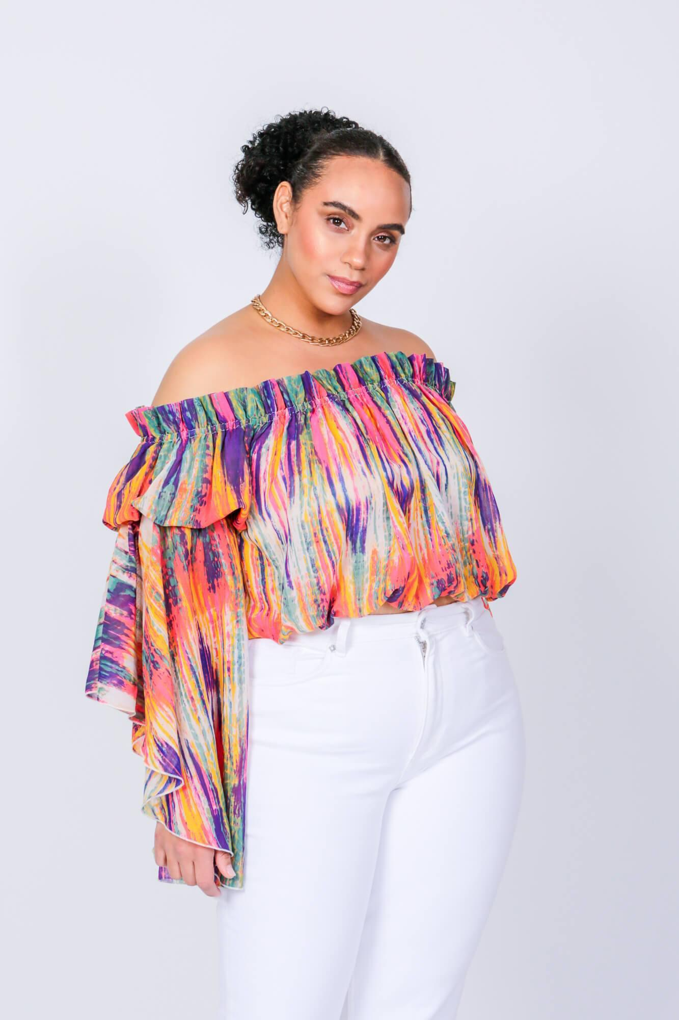 Bright Stripe Brittney Off The Shoulder Bell Sleeve Top 3