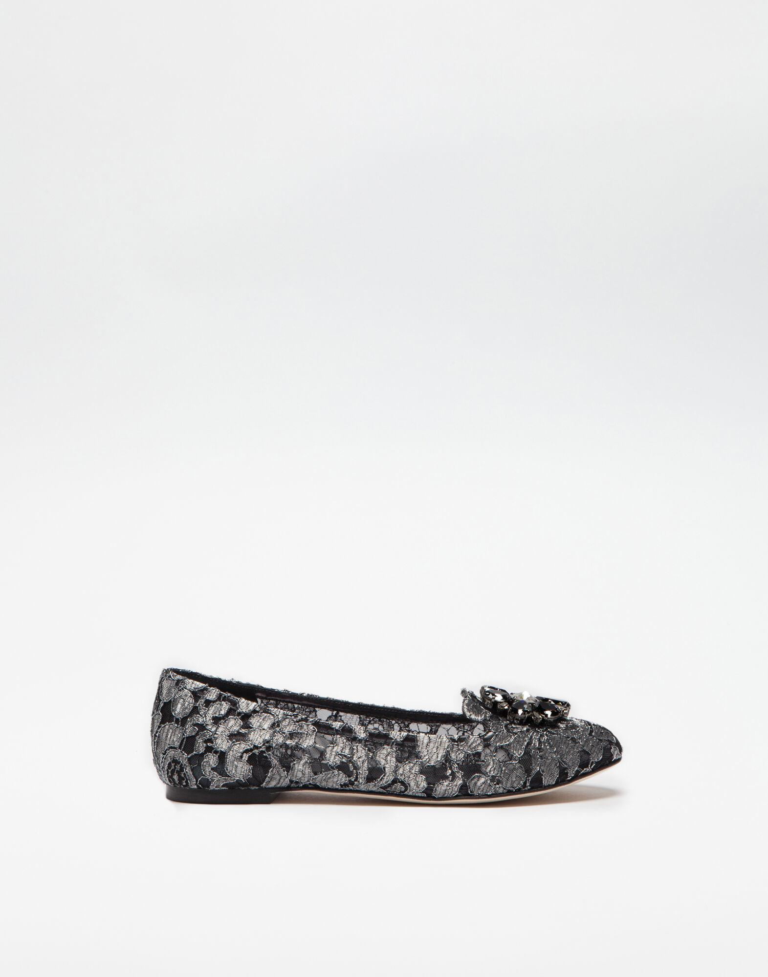 Slipper in Taormina lurex lace with crystals
