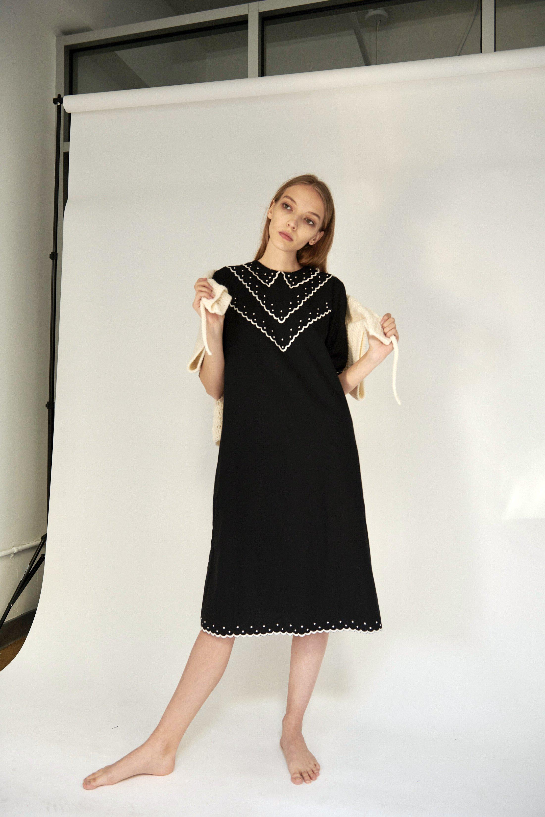 Shirley Dress in Black with Cream Embroidery