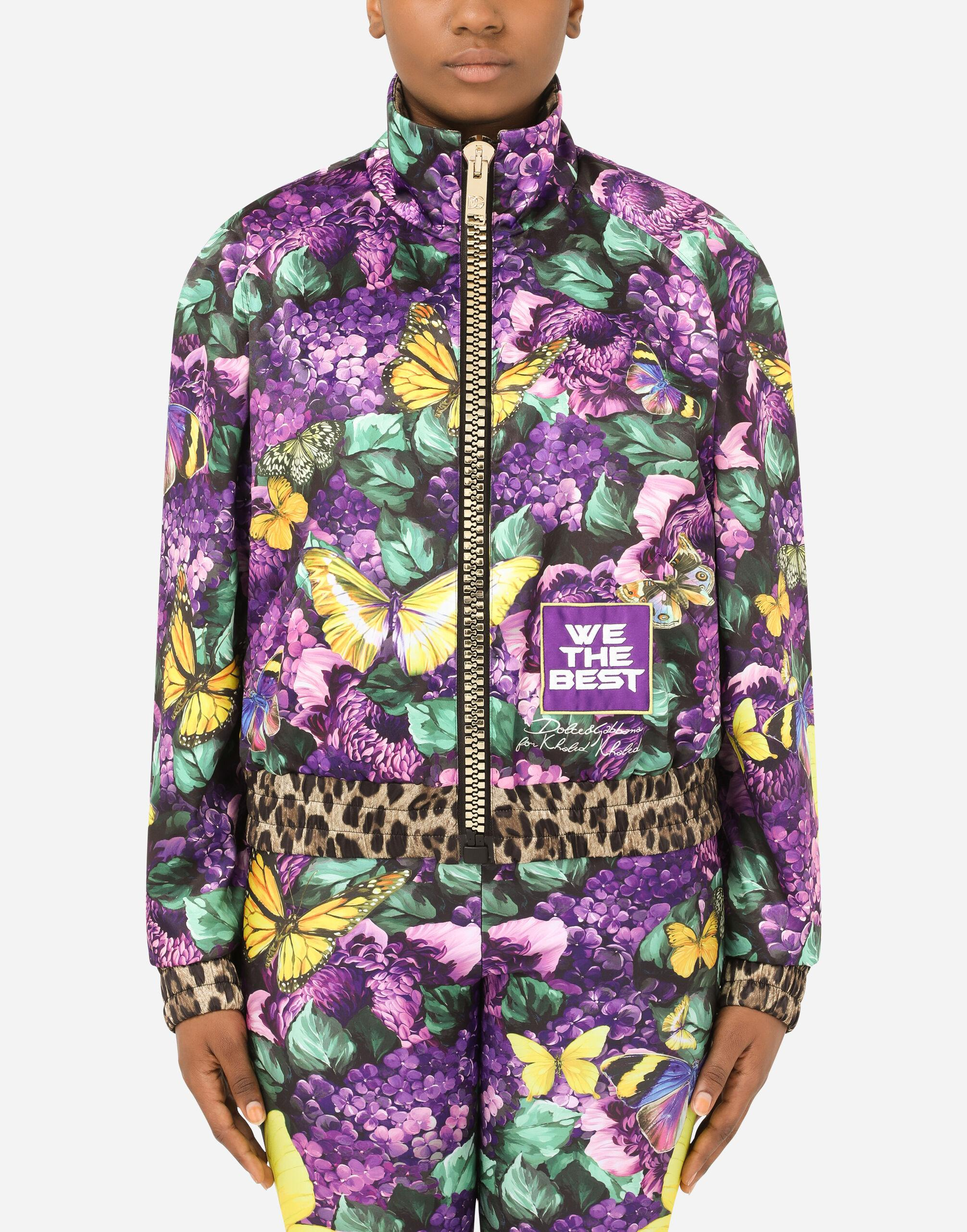 Cropped butterfly-print bomber jacket