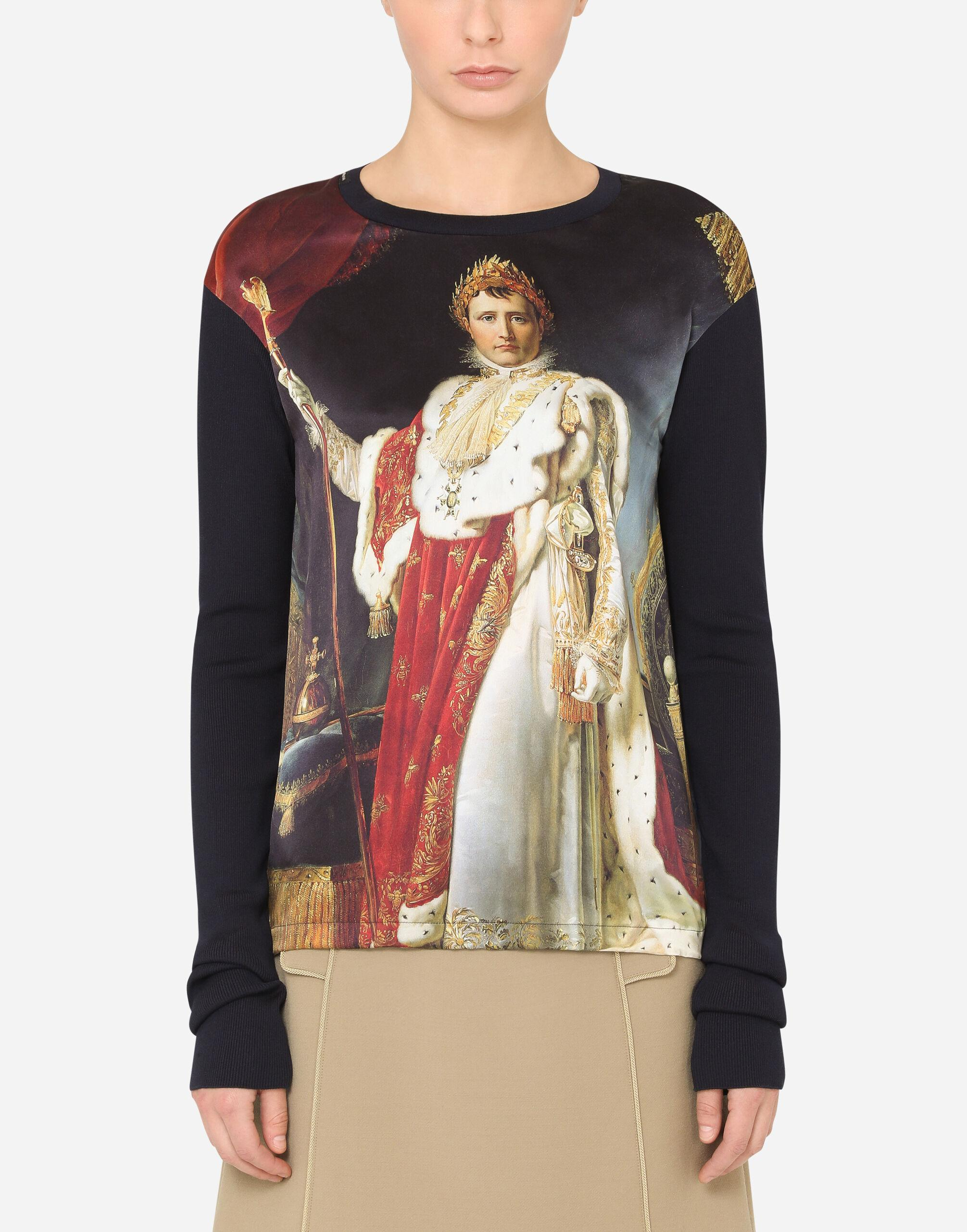 Satin and knit t-shirt with napoleon print