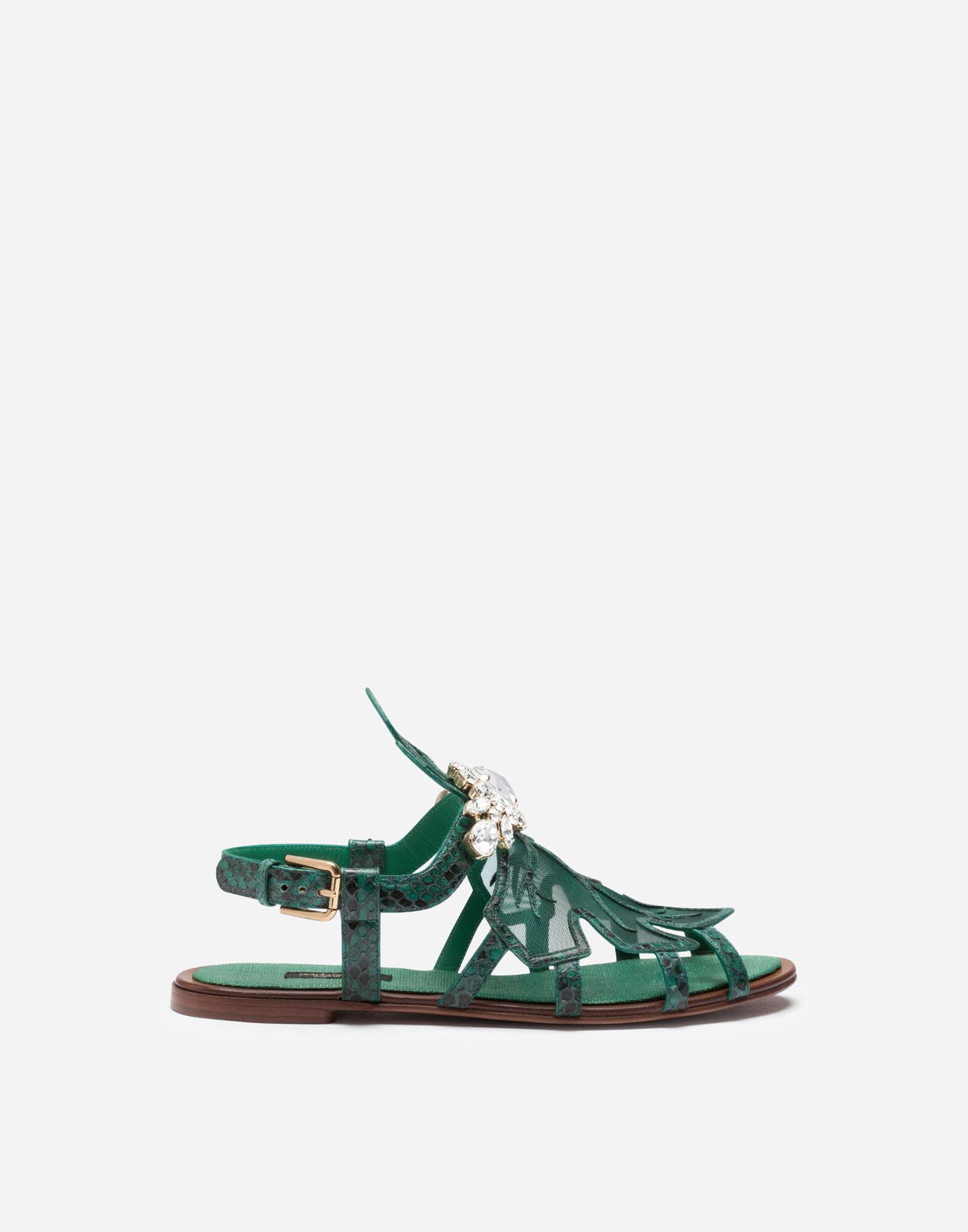 Sandals in python and mesh with bejeweled embroidery