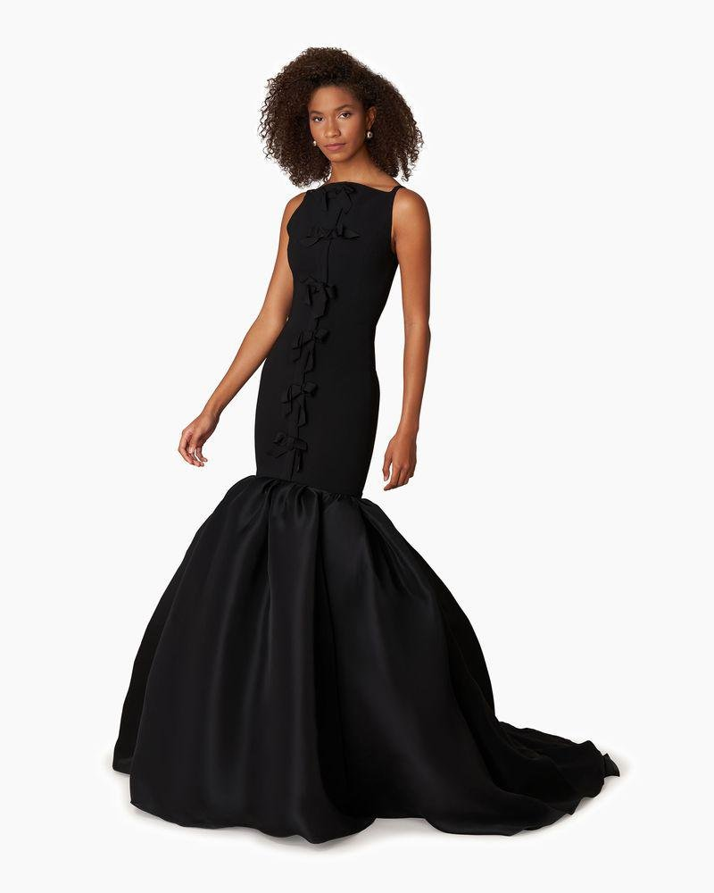 Bow Detail Trumpet Gown