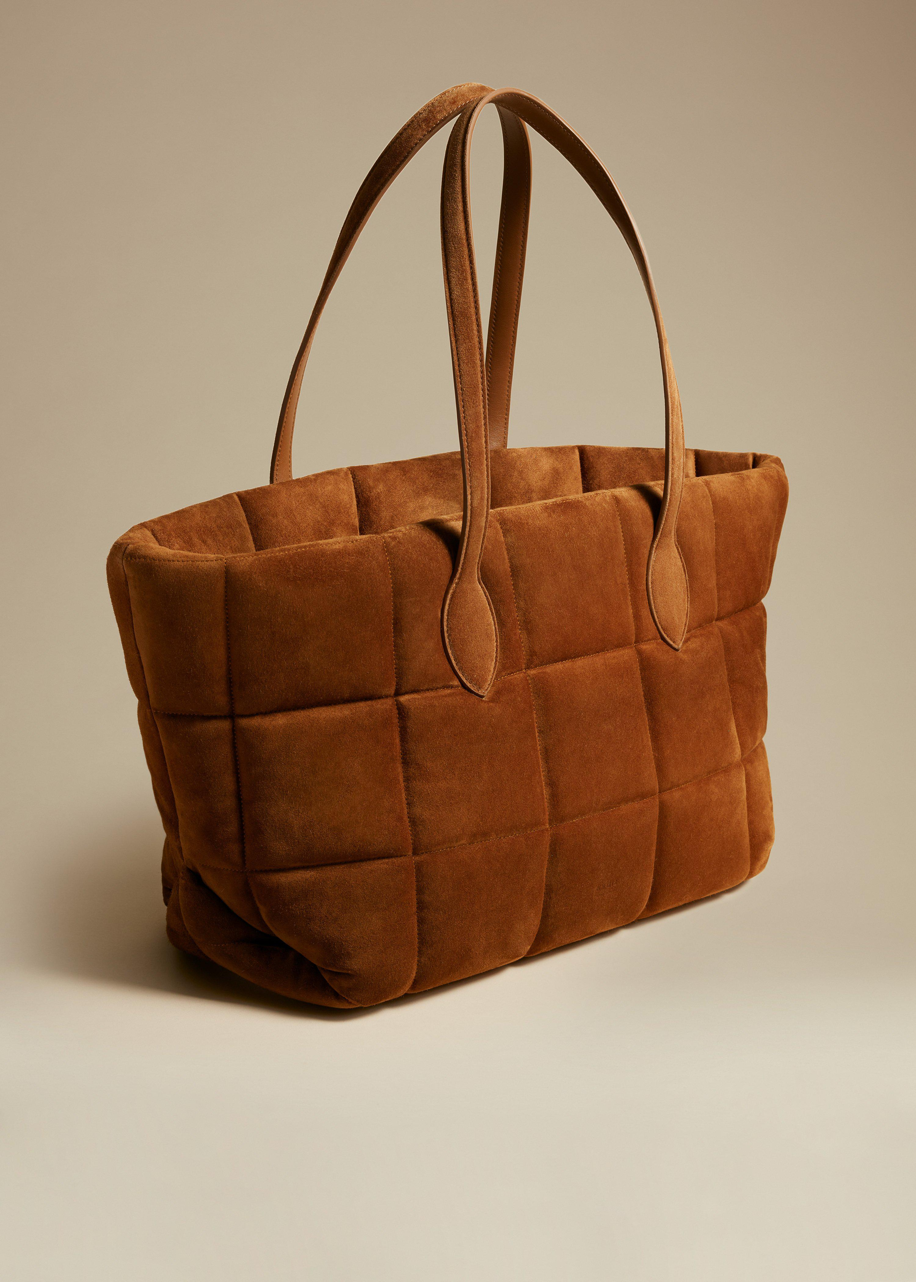 The Florence Quilted Tote in Caramel Suede 1