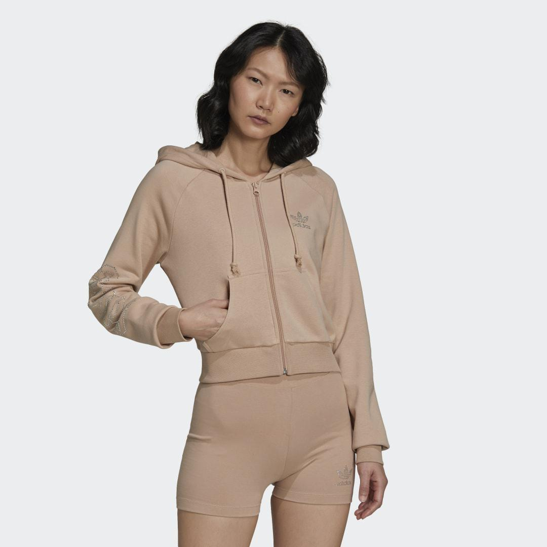 2000 Luxe Cropped Track Top Beige