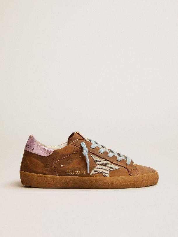 Super-Star sneakers in brown waxed suede with a zebra-print pony skin star