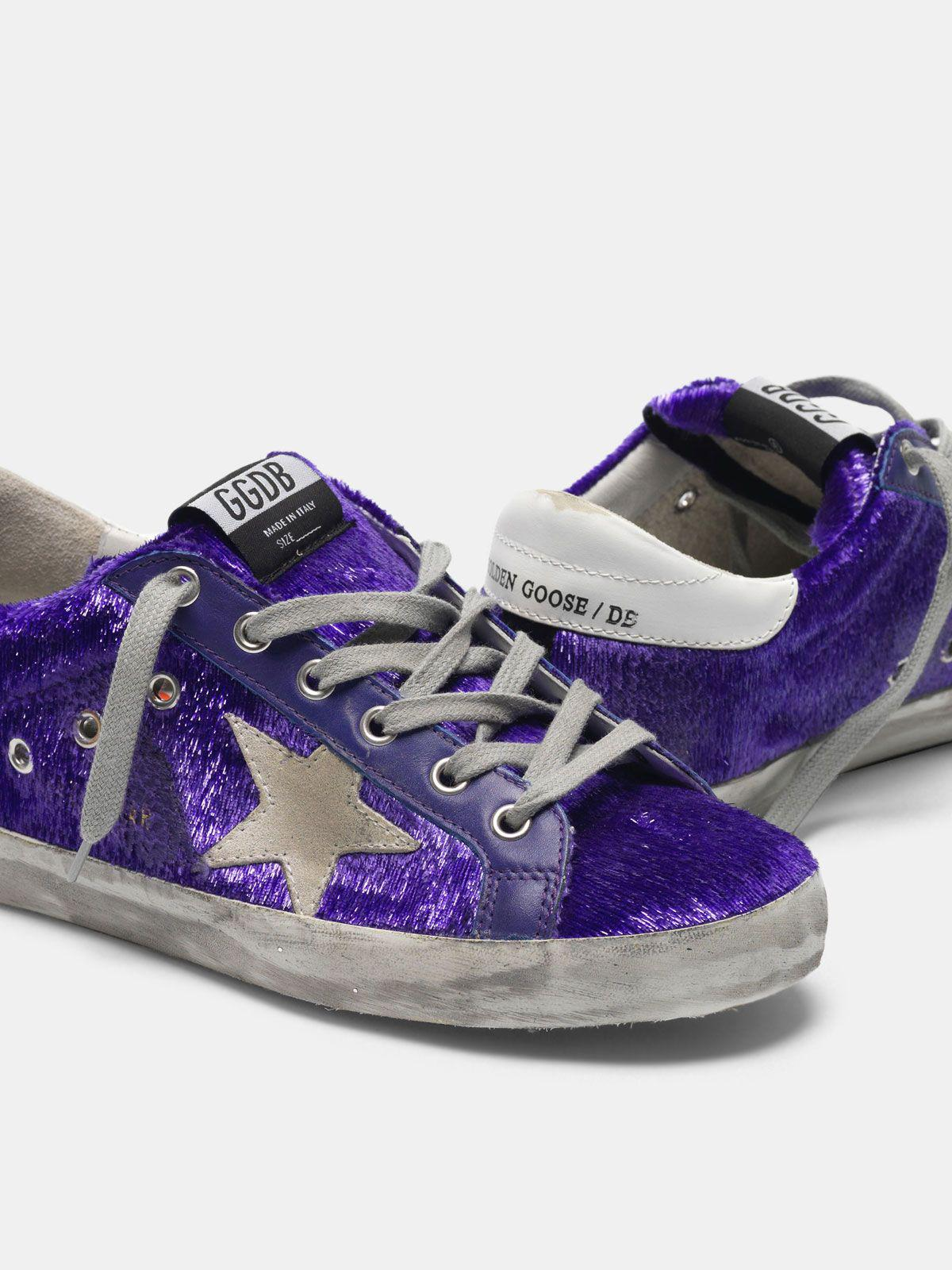 Super-Star sneakers with purple shimmer lamé threads 3