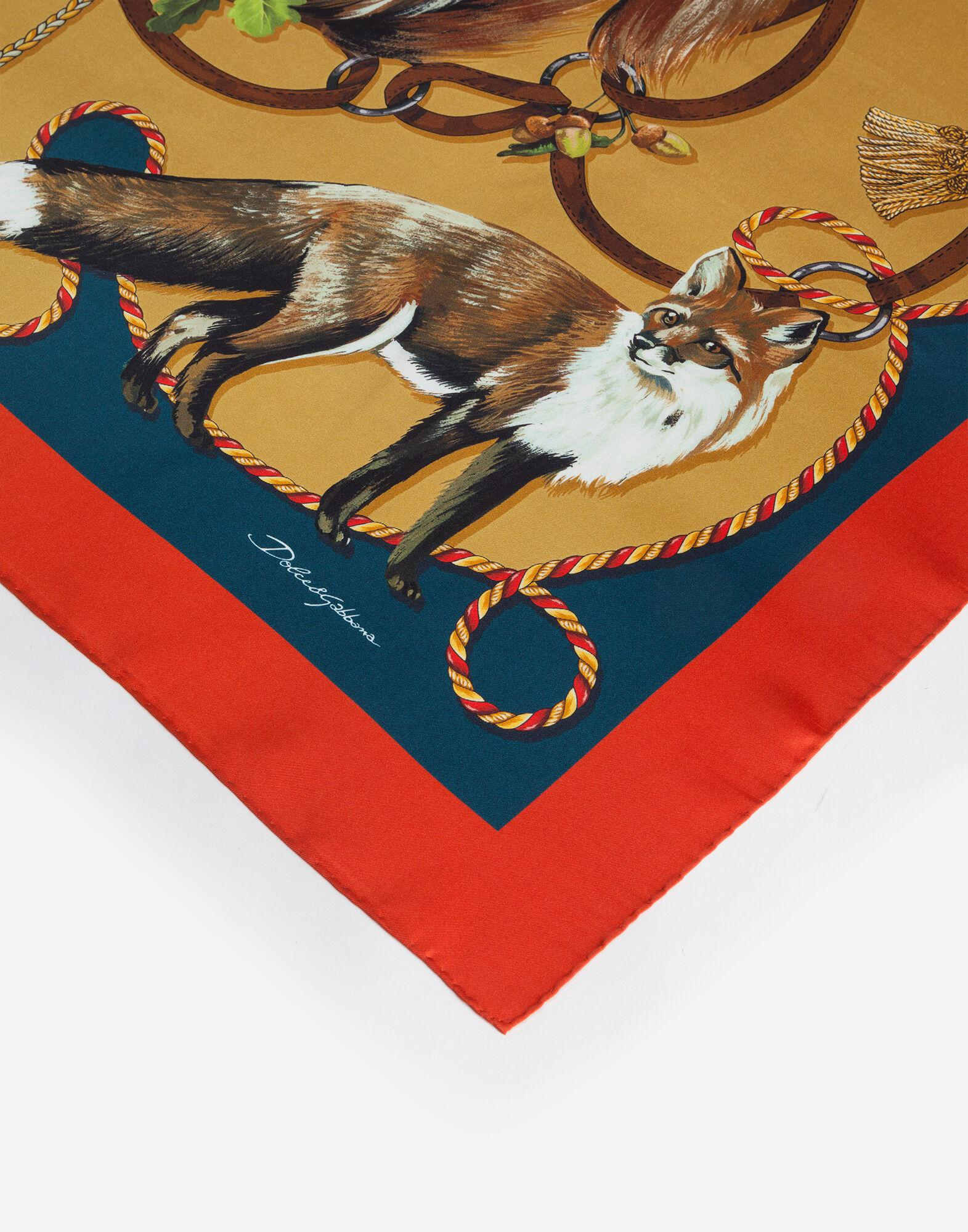 Twill foulard with animals of the forest print: 90 x 90cm - 35 x 35 inches 1